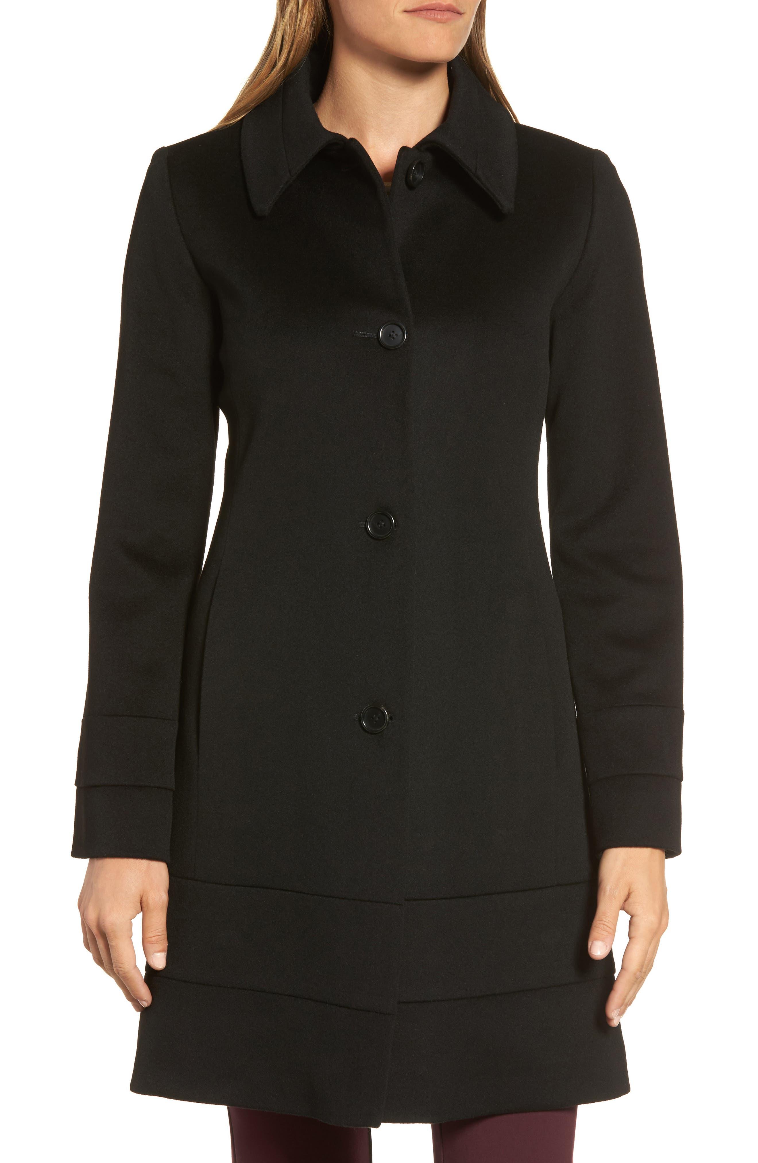 Wool Coat,                             Alternate thumbnail 4, color,                             Black