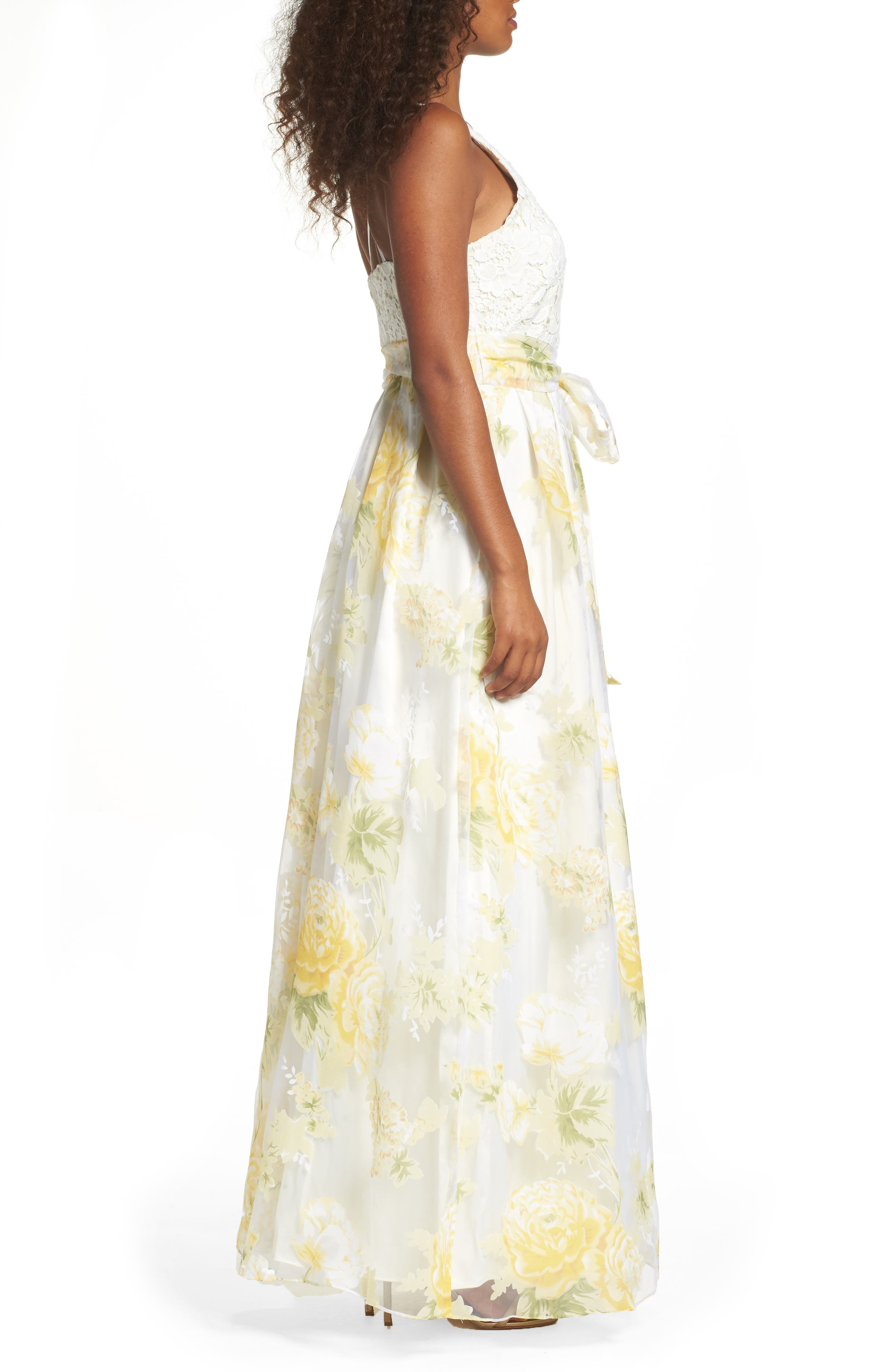 Alternate Image 3  - Eliza J Crochet & Floral Organza Halter Gown