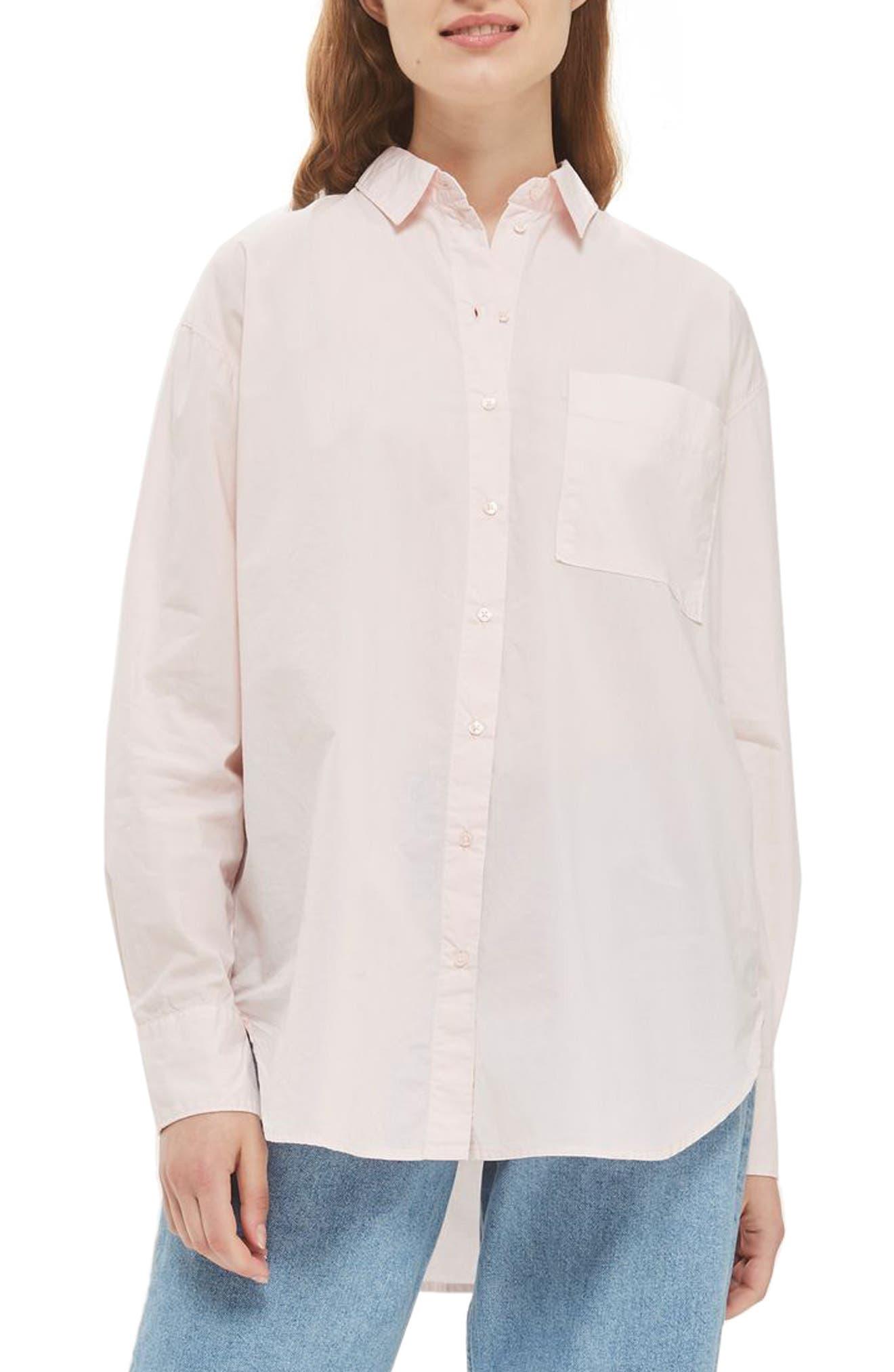 Olly Oversize Poplin Shirt,                         Main,                         color, Light Pink