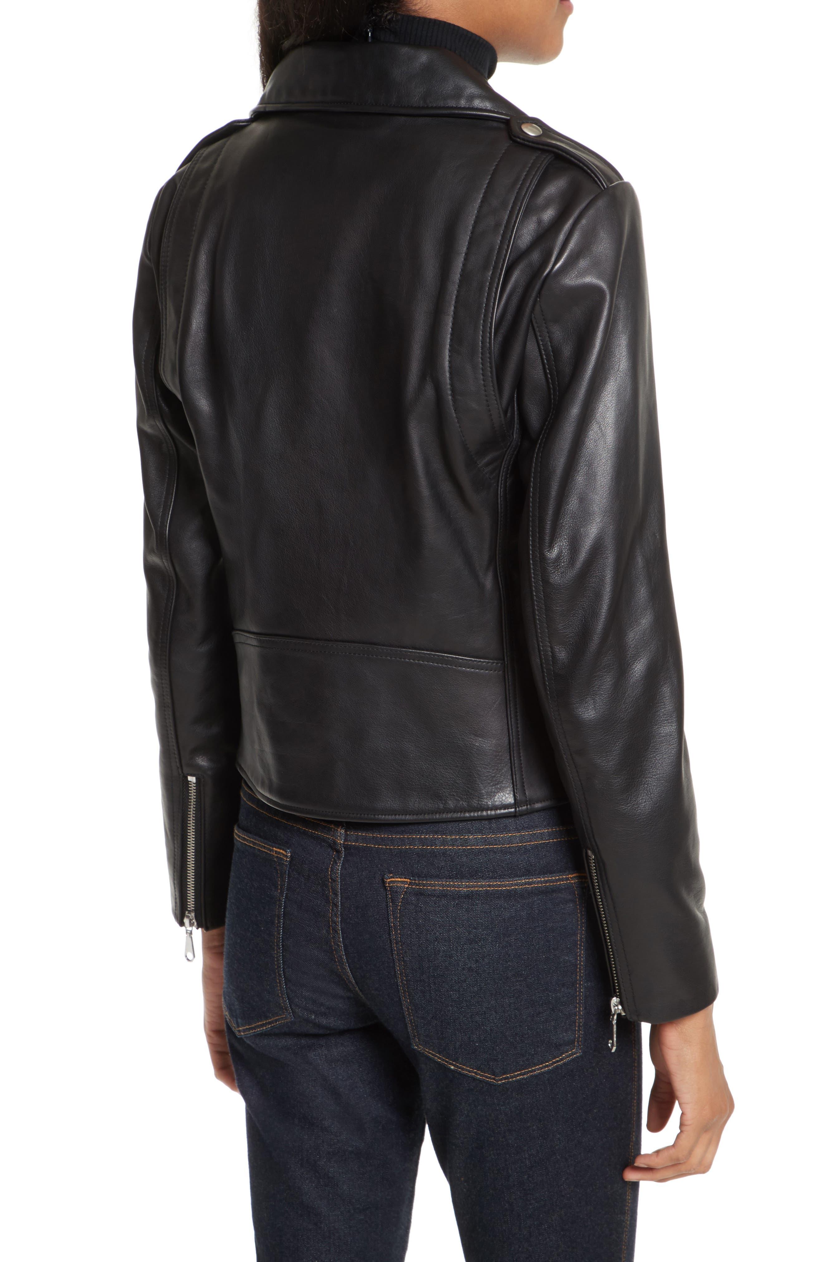 Wes Leather Moto Jacket,                             Alternate thumbnail 2, color,                             Black