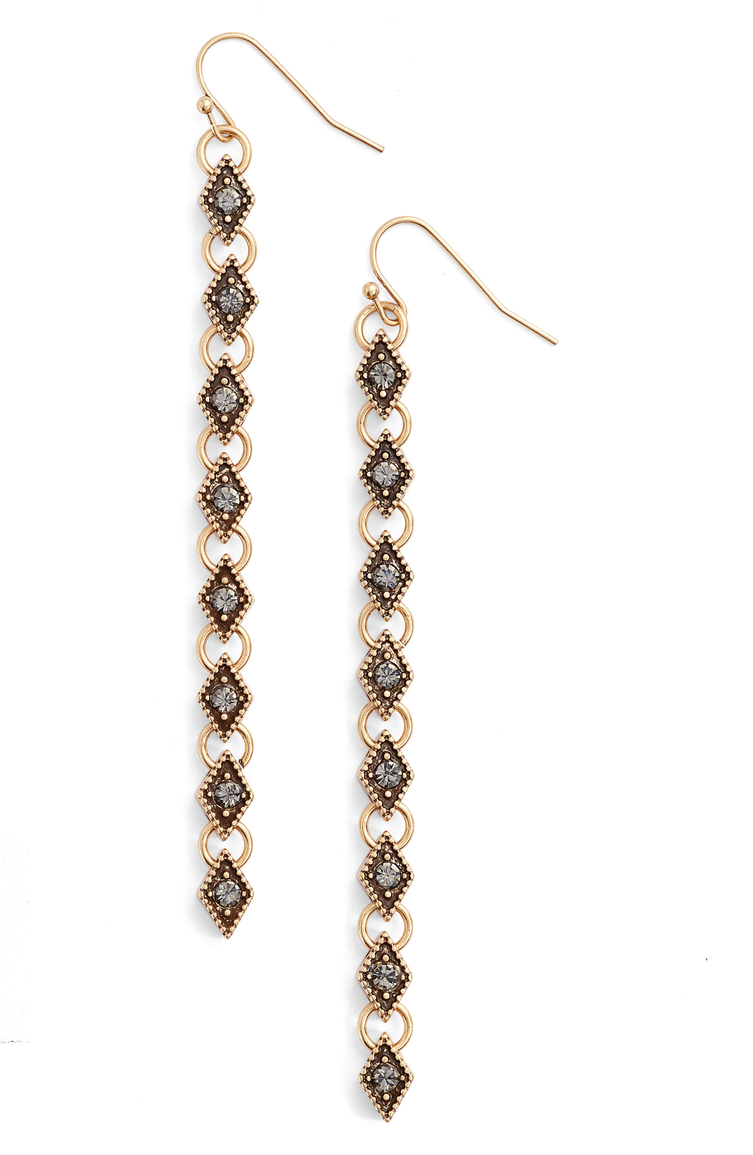 Link Drop Earrings,                         Main,                         color, Black Diamond- Gold