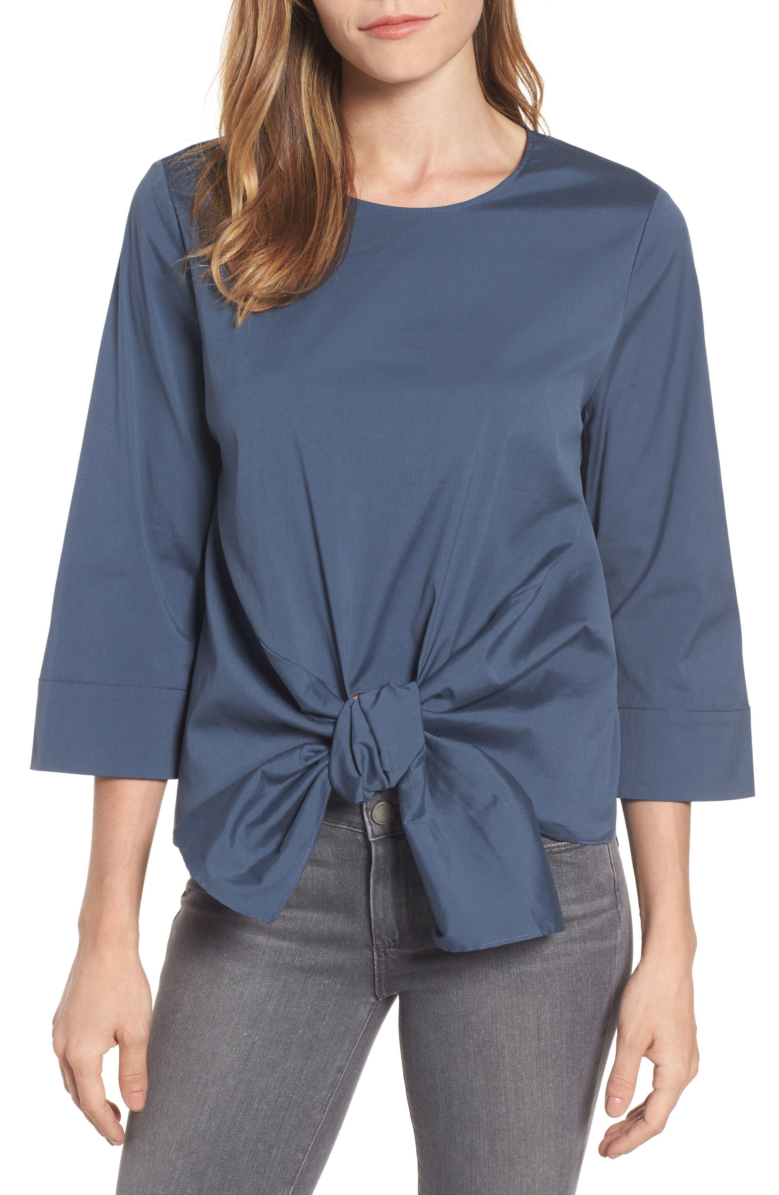 Tie Front Blouse,                         Main,                         color, Blue