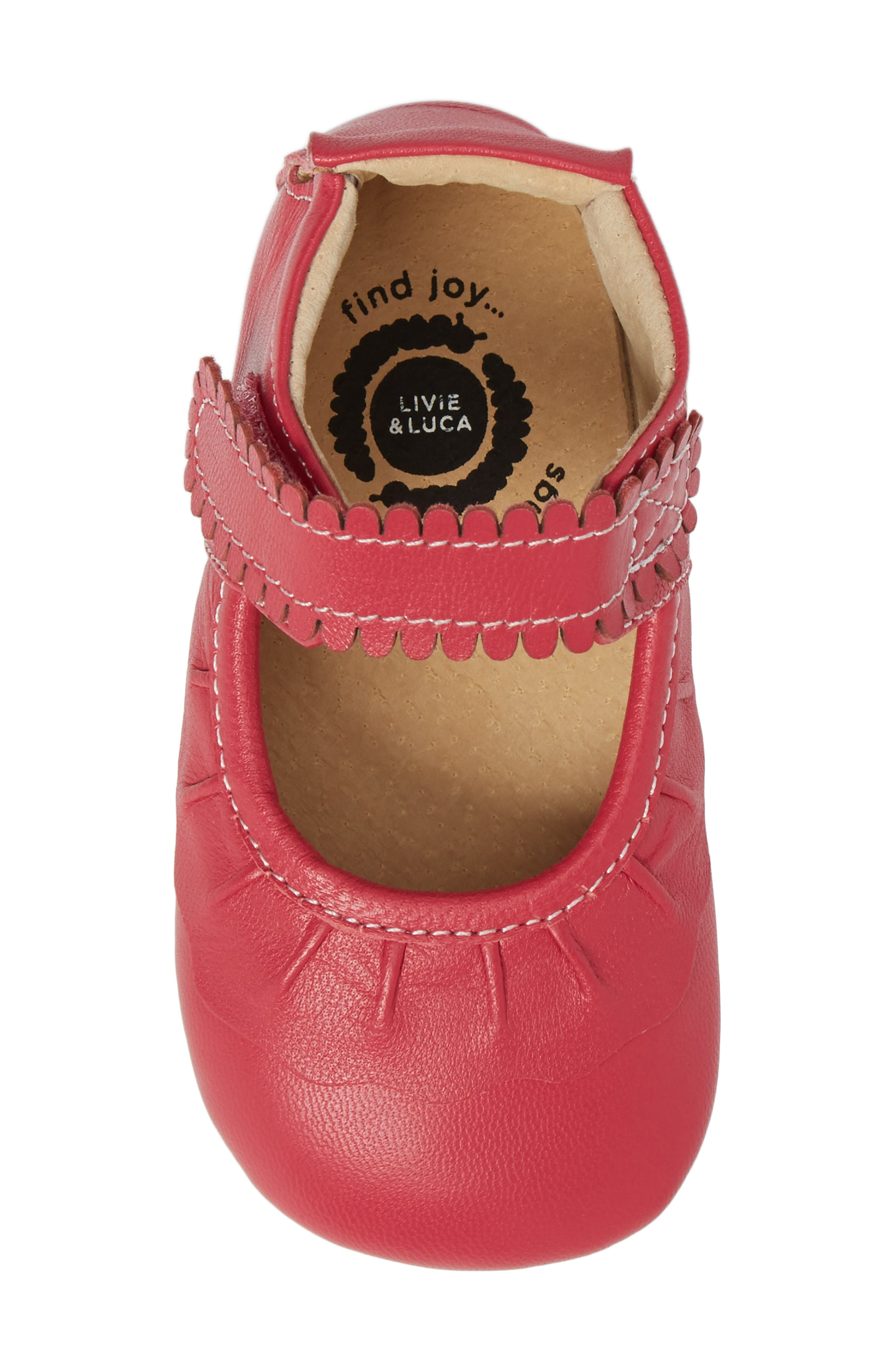 'Ruche' Mary Jane Crib Shoe,                             Alternate thumbnail 5, color,                             Hot Pink Leather