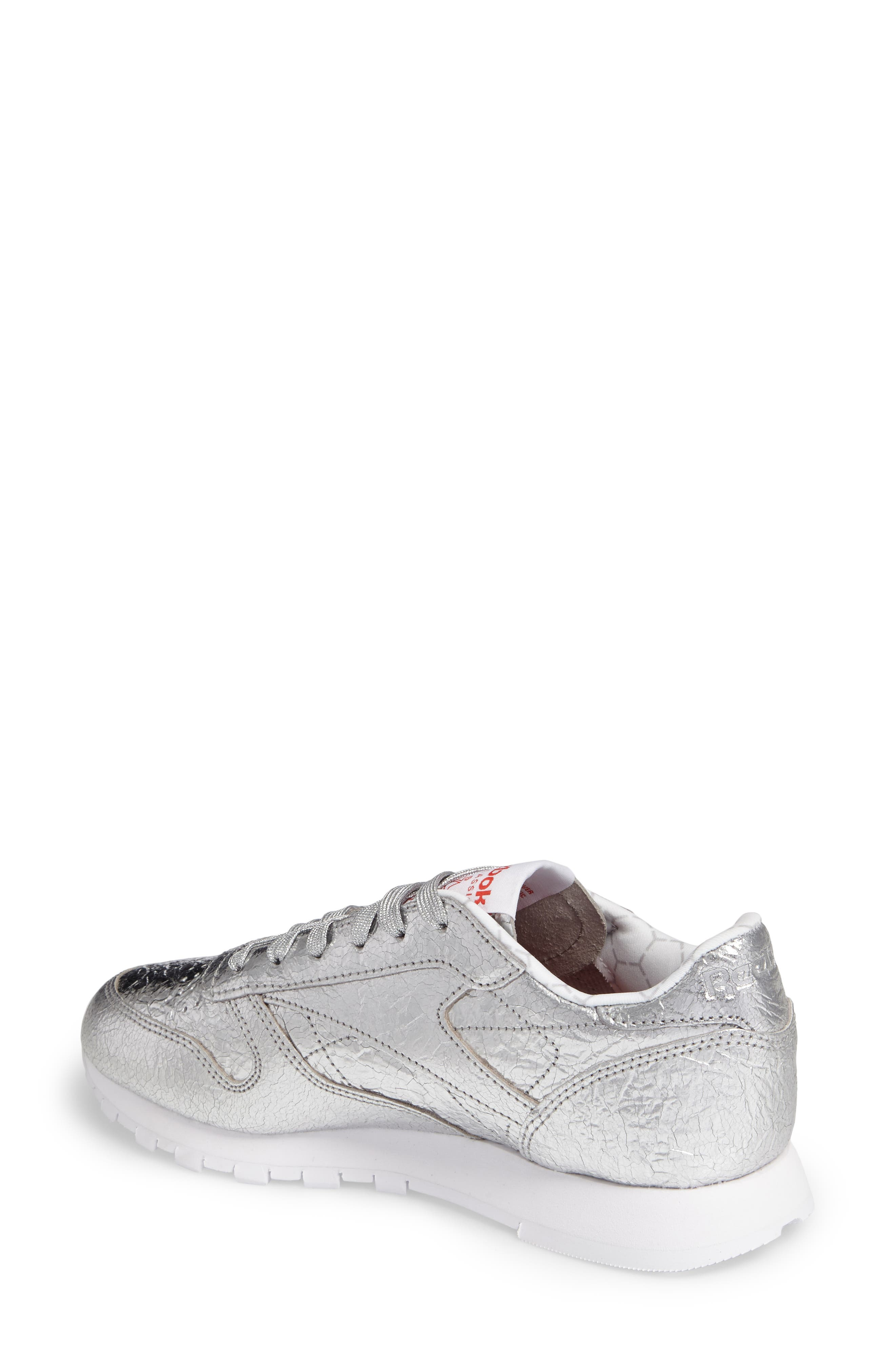 Classic Leather HD Foil Sneaker,                             Alternate thumbnail 2, color,                             Silver/ Grey/ Red/ White