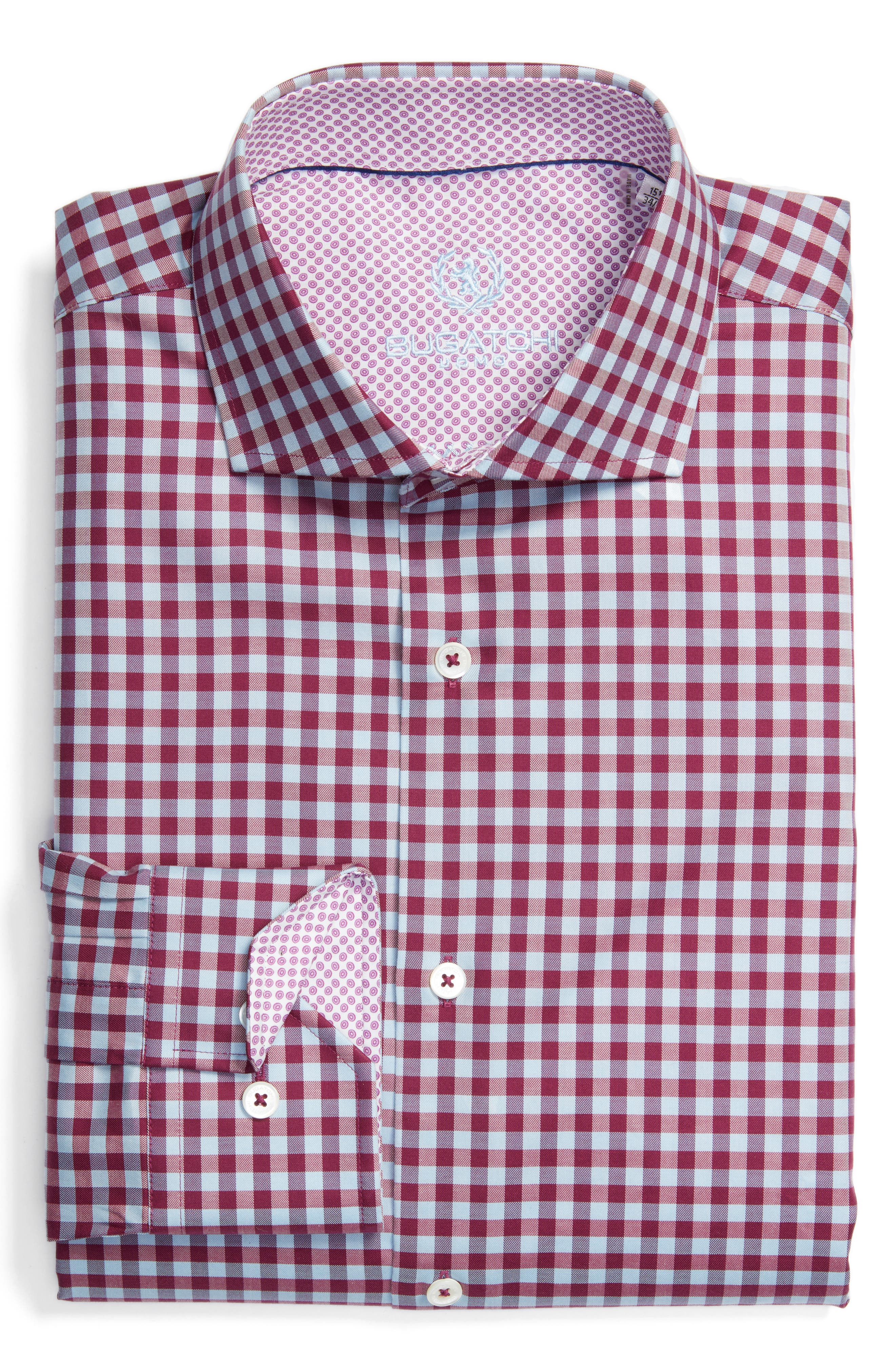 Trim Fit Check Dress Shirt,                         Main,                         color, Wine