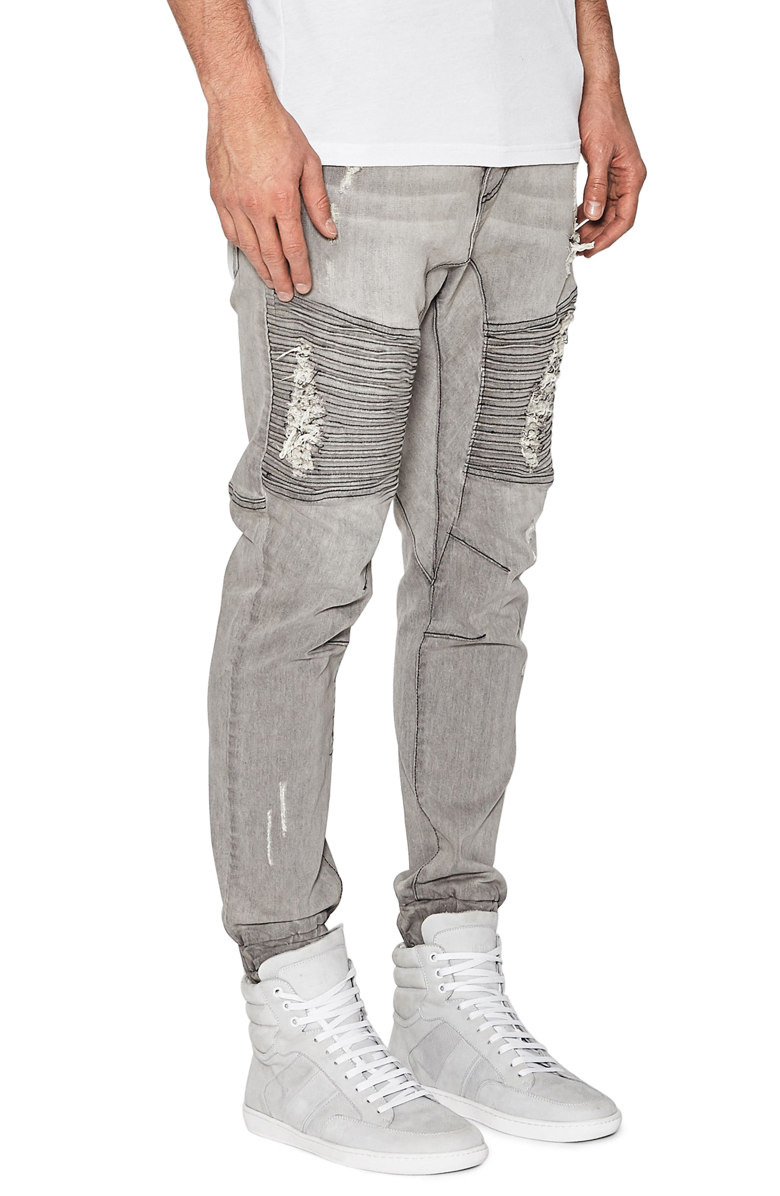 Destroyer Moto Denim Jogger Pants,                             Alternate thumbnail 3, color,                             Wolf Grey