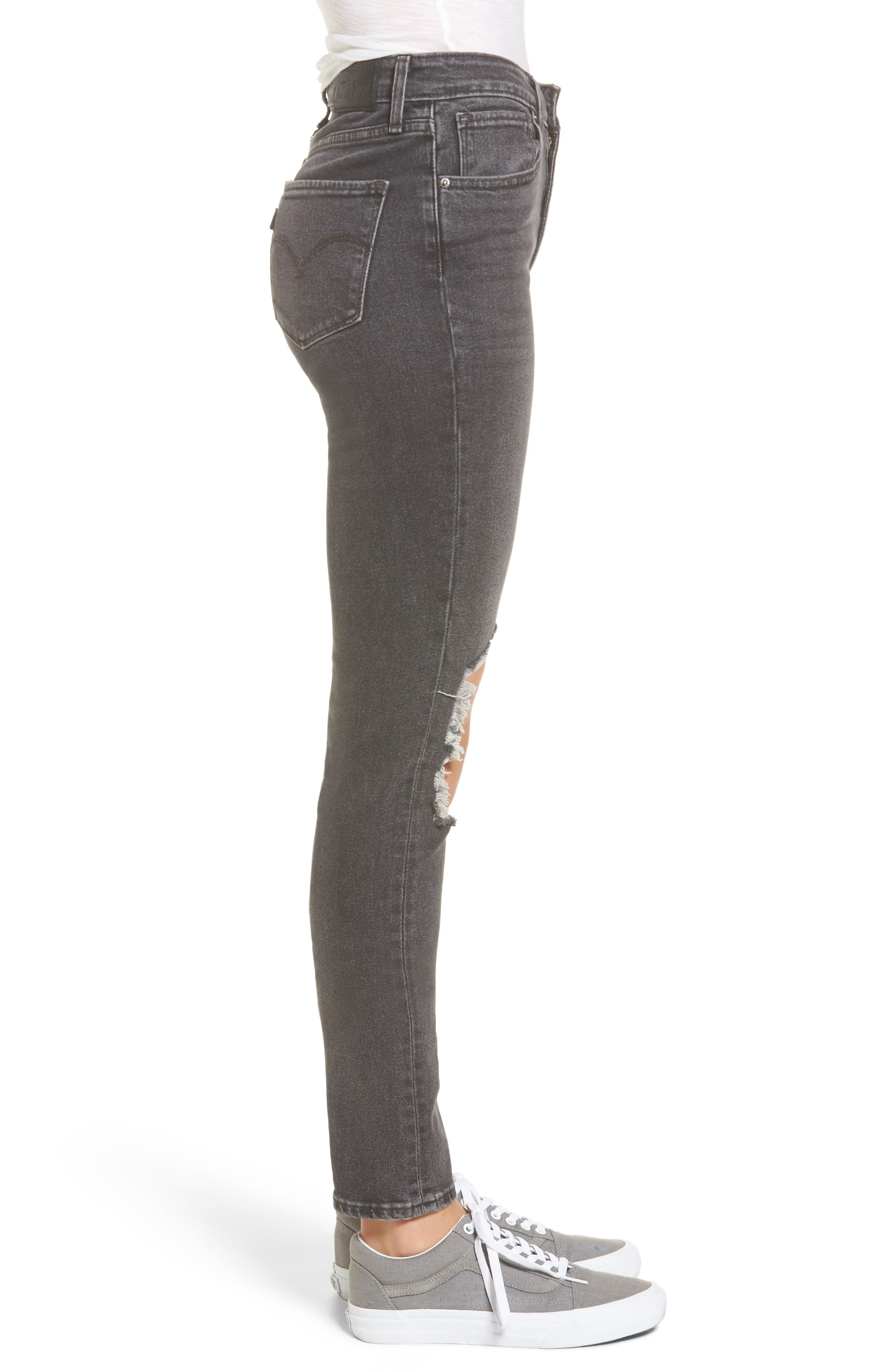 Alternate Image 3  - Levi's® 721 Ripped High Waist Skinny Jeans (Rugged Black)