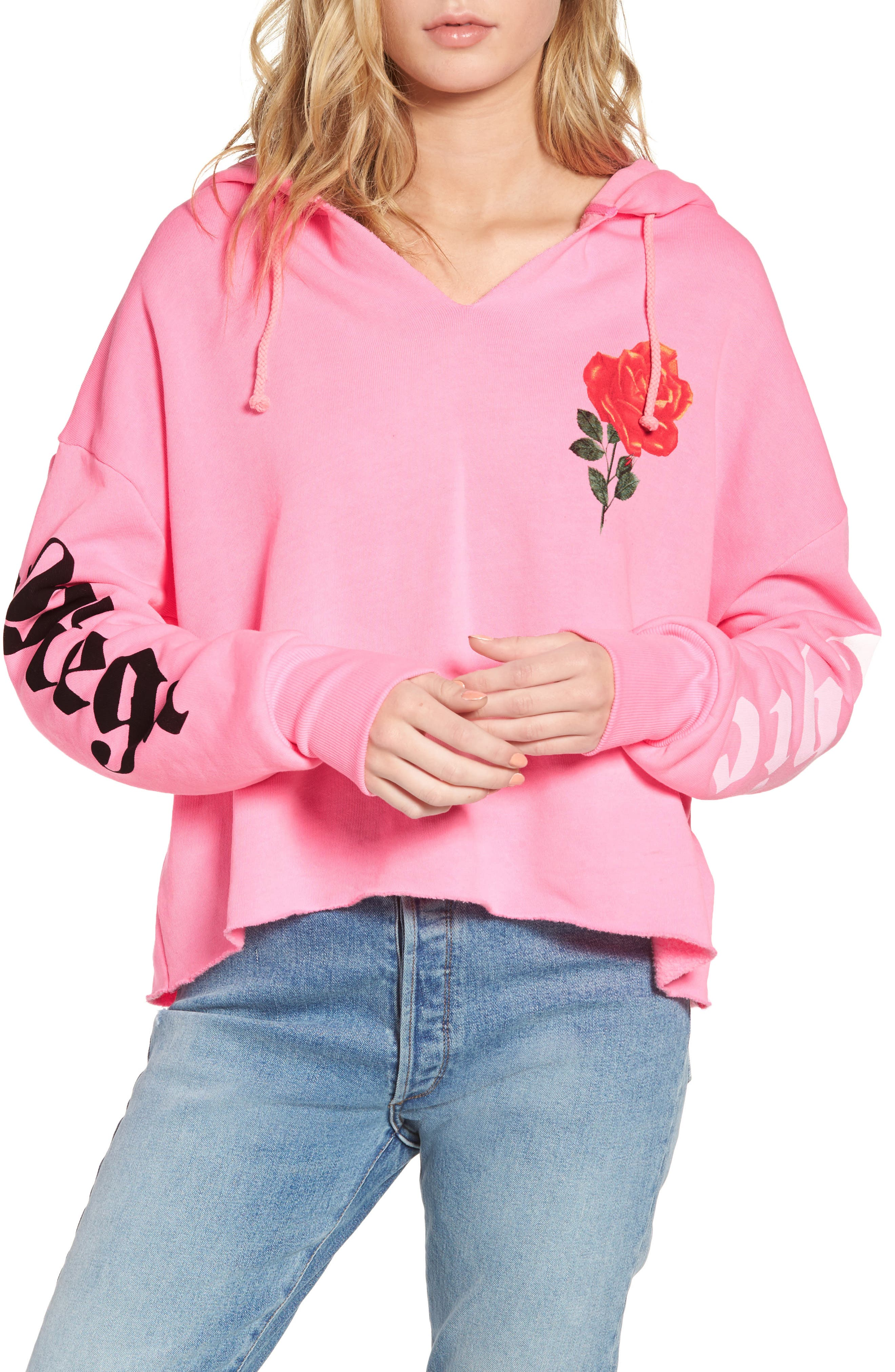 Mega Chic Freddy Hoodie,                         Main,                         color, Neon Sign Pink