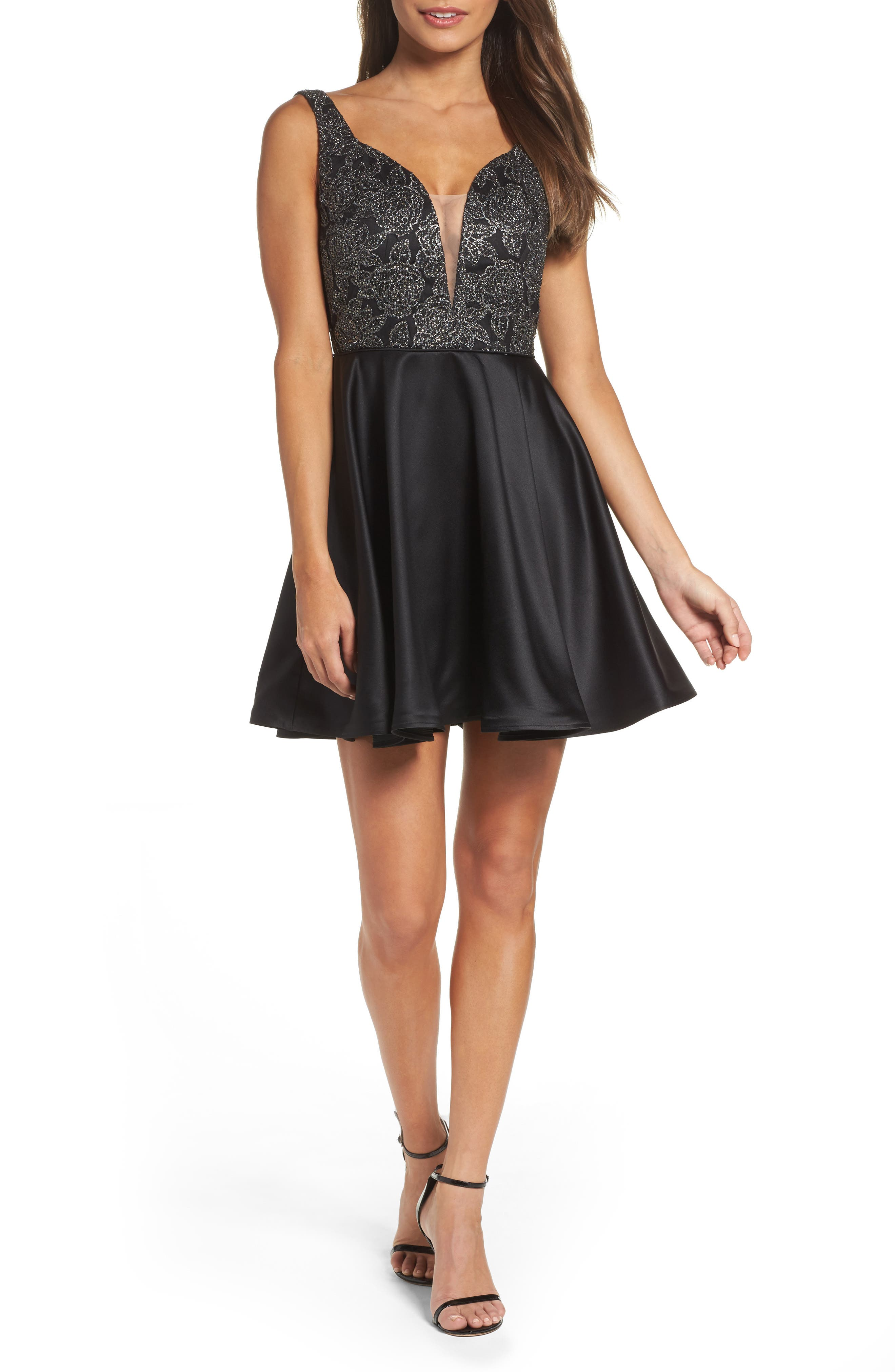 Mesh Plunge Skater Dress,                         Main,                         color, Black