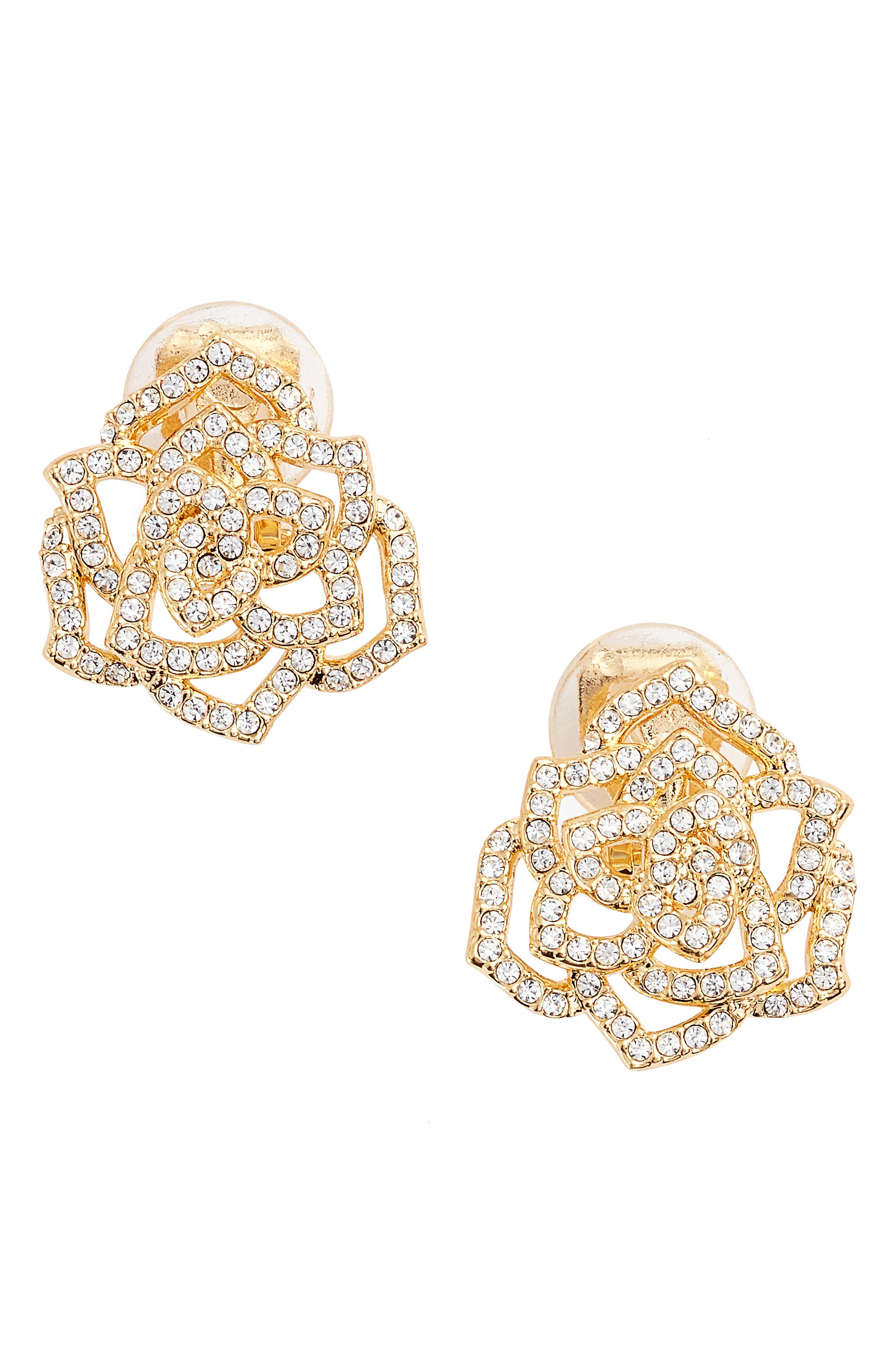 NADRI Rose Clip-On Stud Earrings