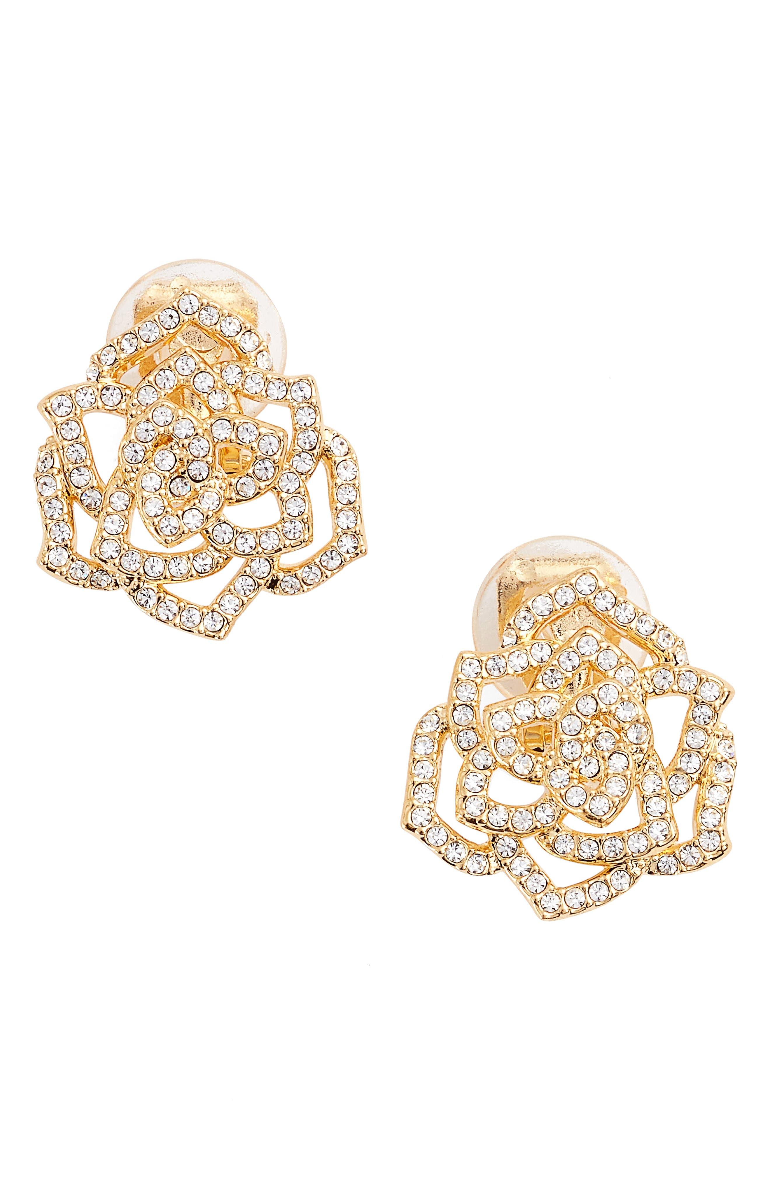 Main Image - Nadri Rose Clip-On Stud Earrings
