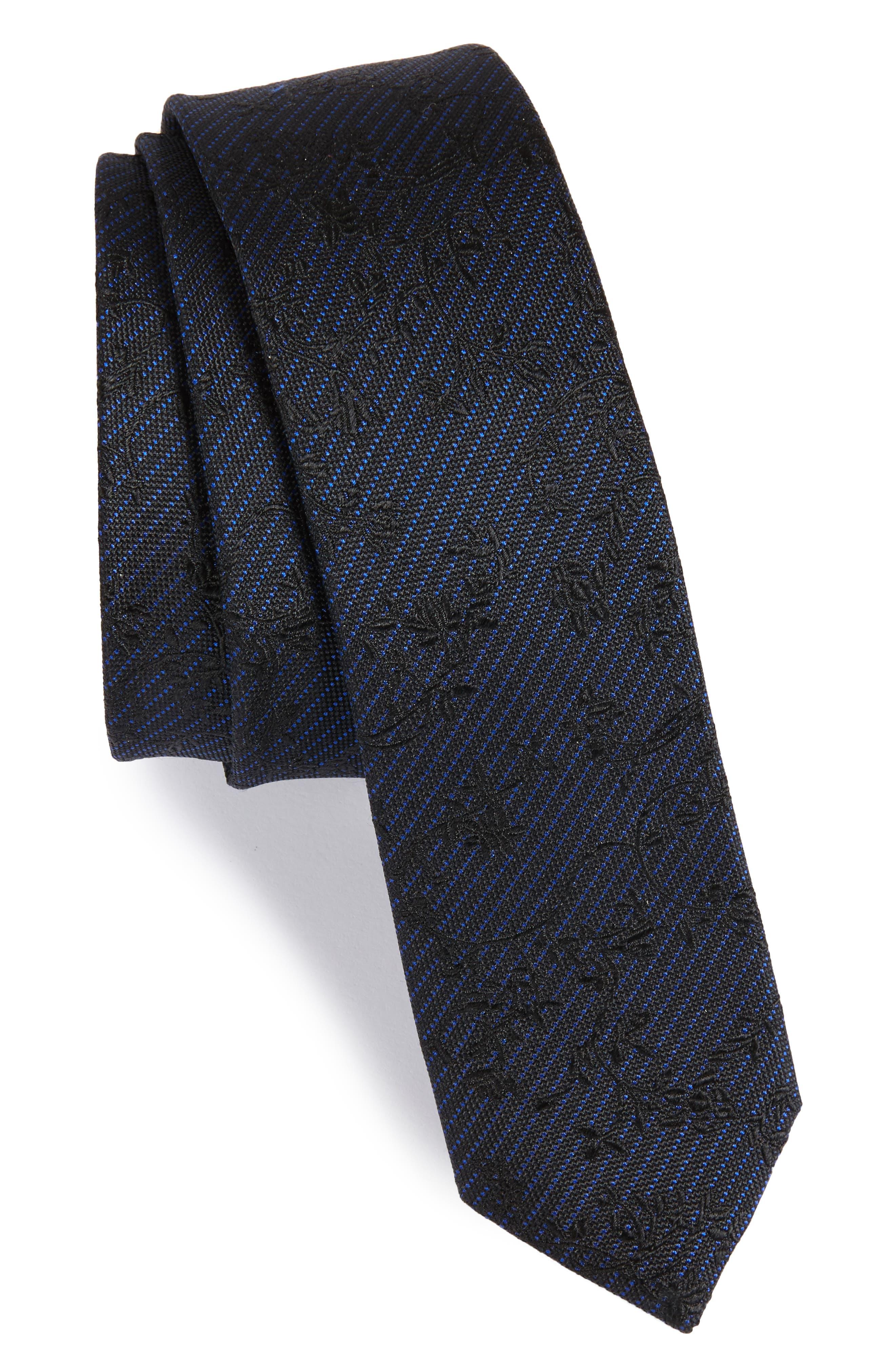 Floral Silk Skinny Tie,                         Main,                         color, Blue