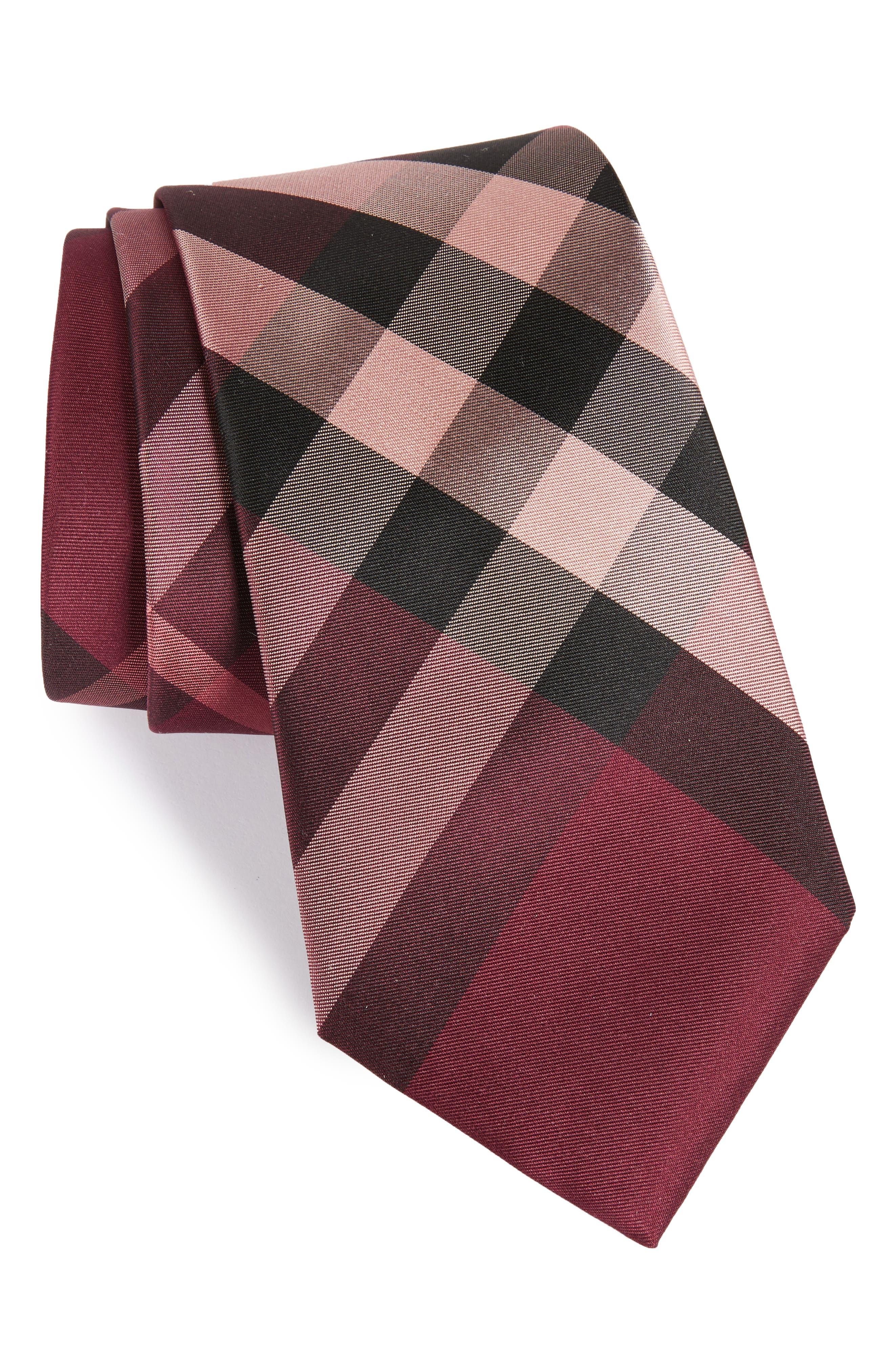 Clinton Check Silk Tie,                         Main,                         color, Rose Pink