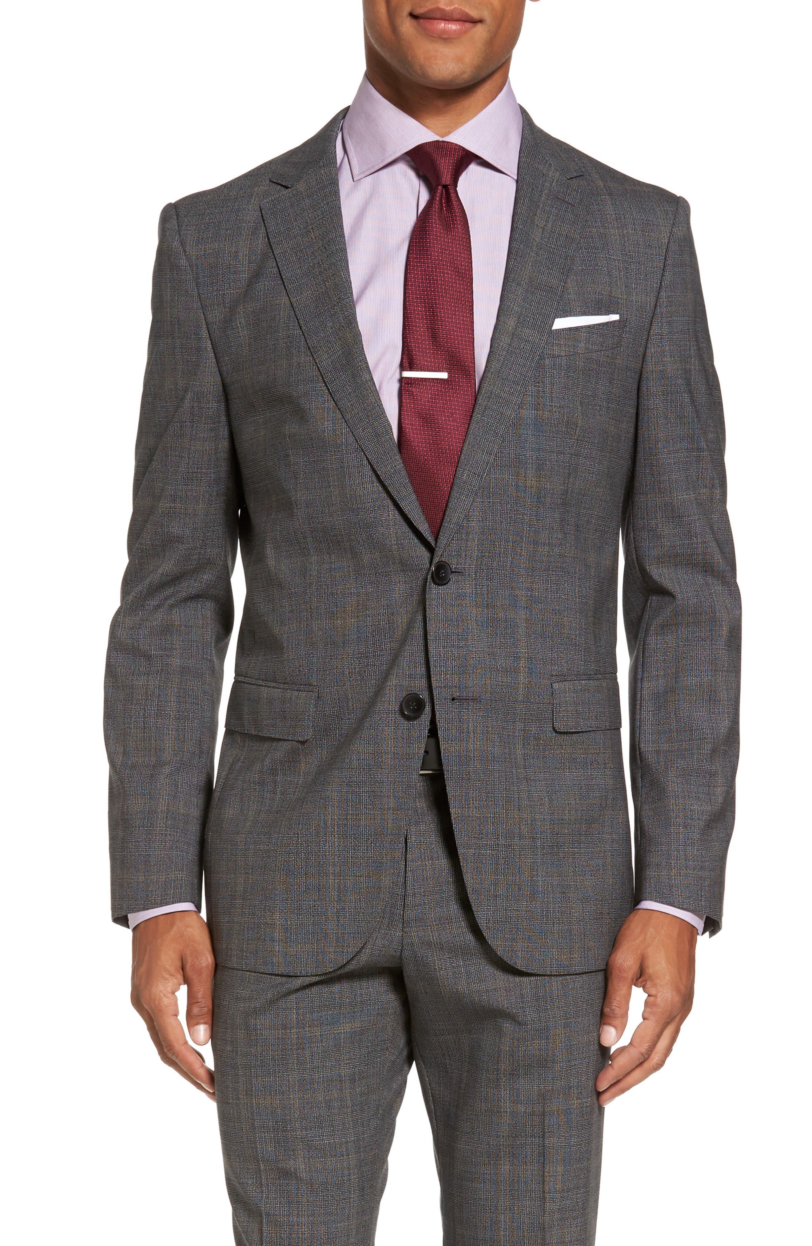 Novan/Ben Trim Fit Plaid Wool Suit,                             Alternate thumbnail 5, color,                             Black