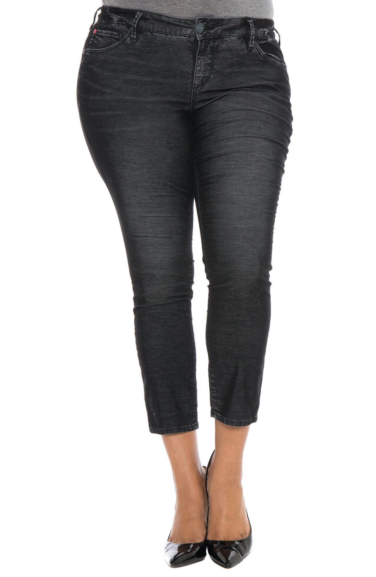 Alternate Image 1 Selected - SLINK Jeans Stretch Corduroy Cropped Skinny Pants (Plus Size)