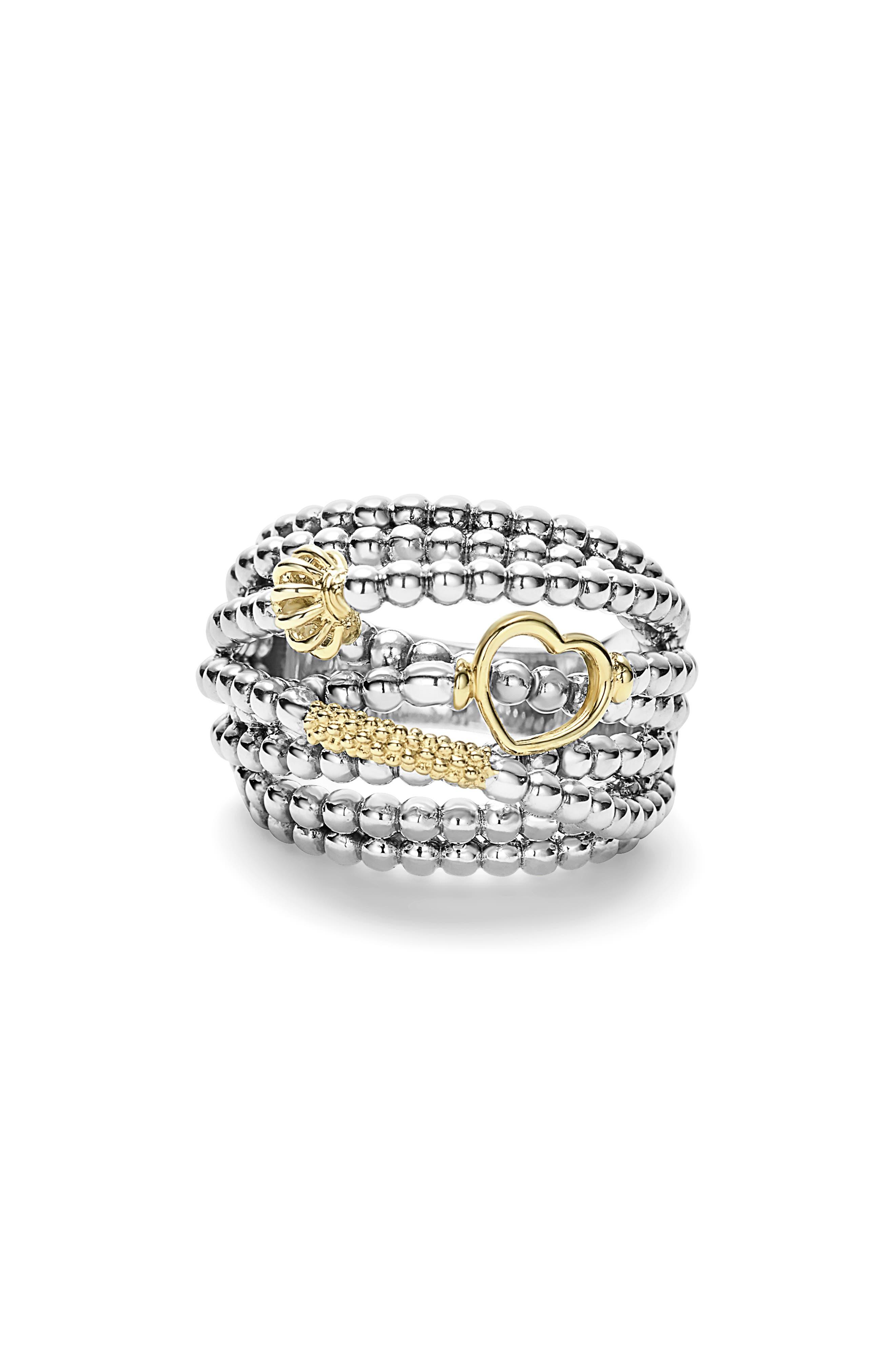'Caviar Icon' Multi-Row Dome Ring,                             Alternate thumbnail 2, color,                             Silver/ Gold