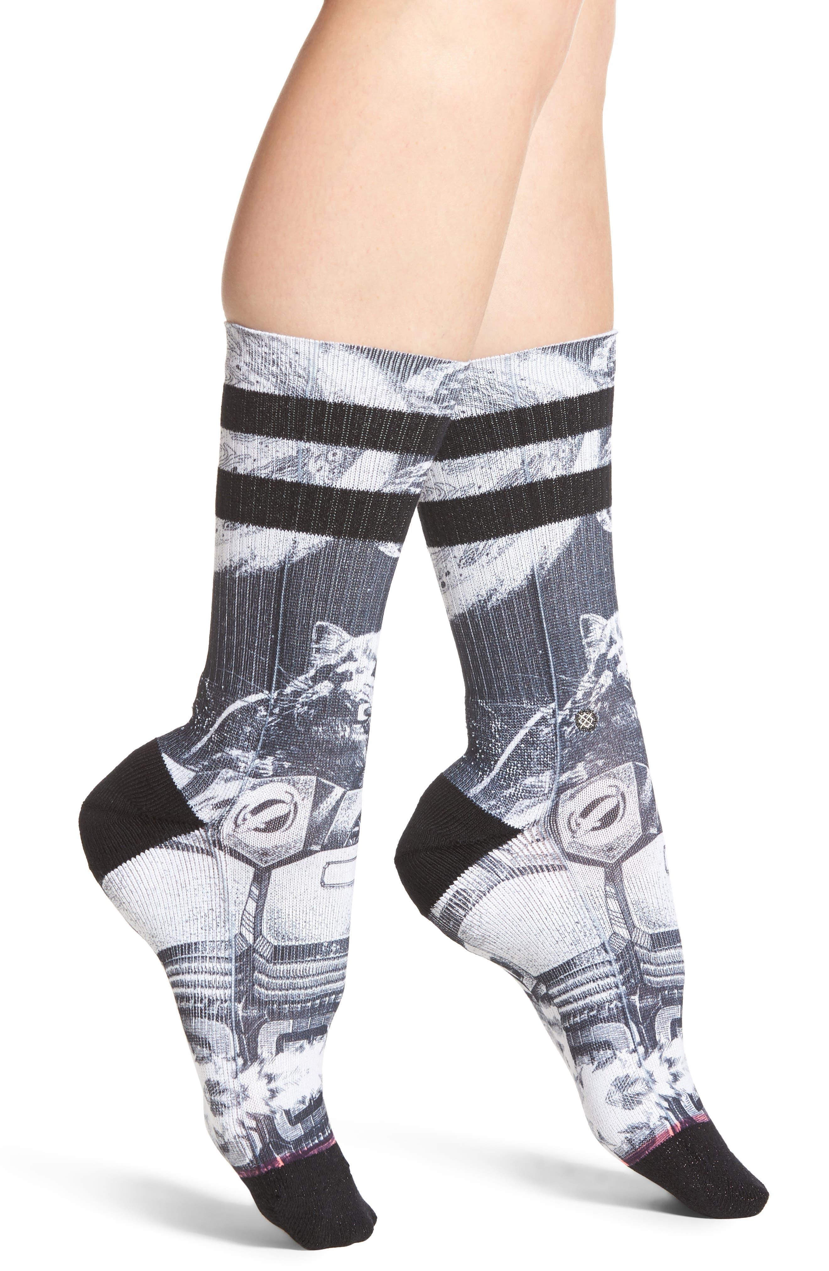 Punker Skunker Crew Socks,                             Main thumbnail 1, color,                             Black Multi