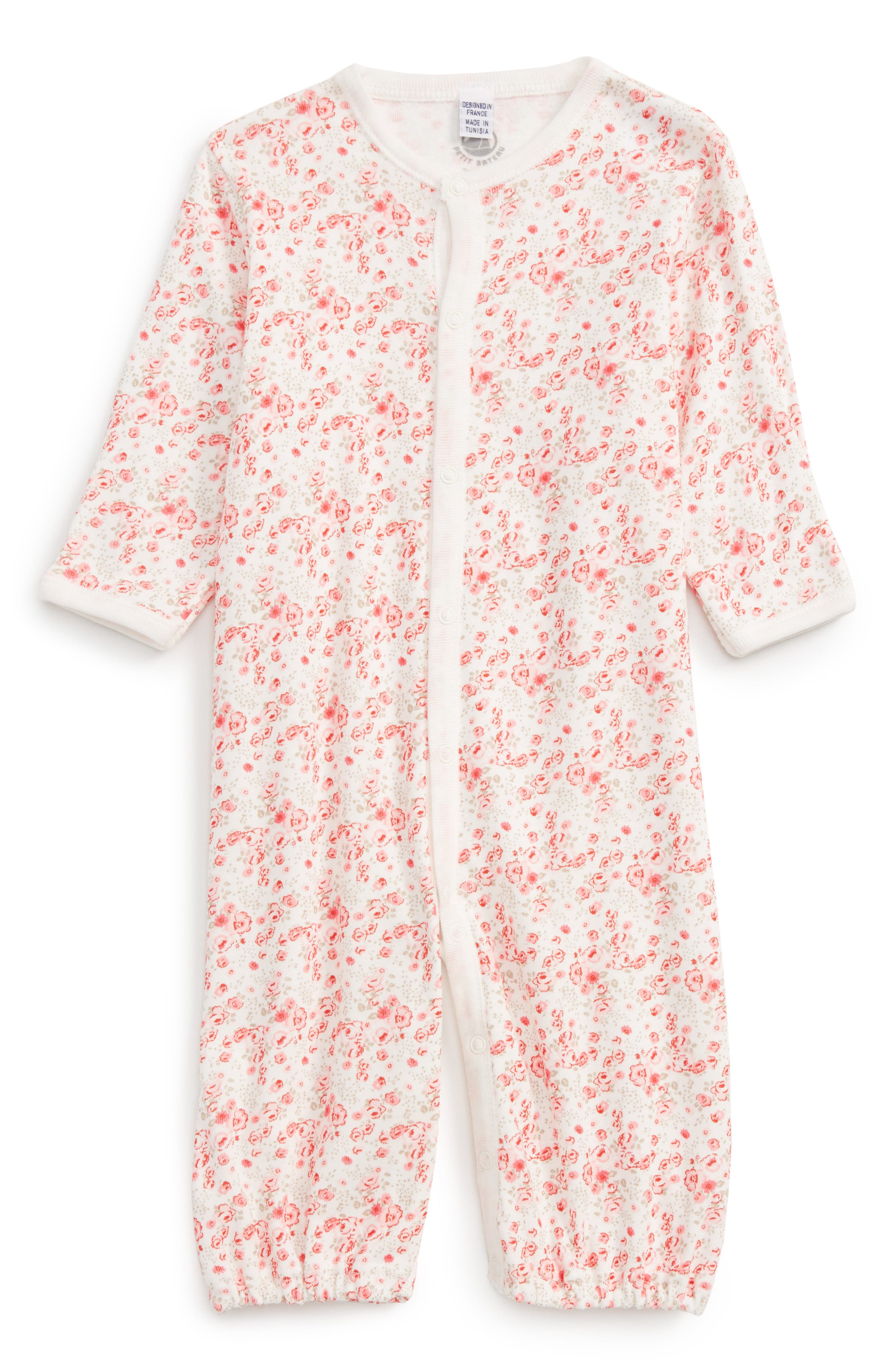 Alternate Image 1 Selected - Petit Bateau Convertible Gown (Baby Girls)