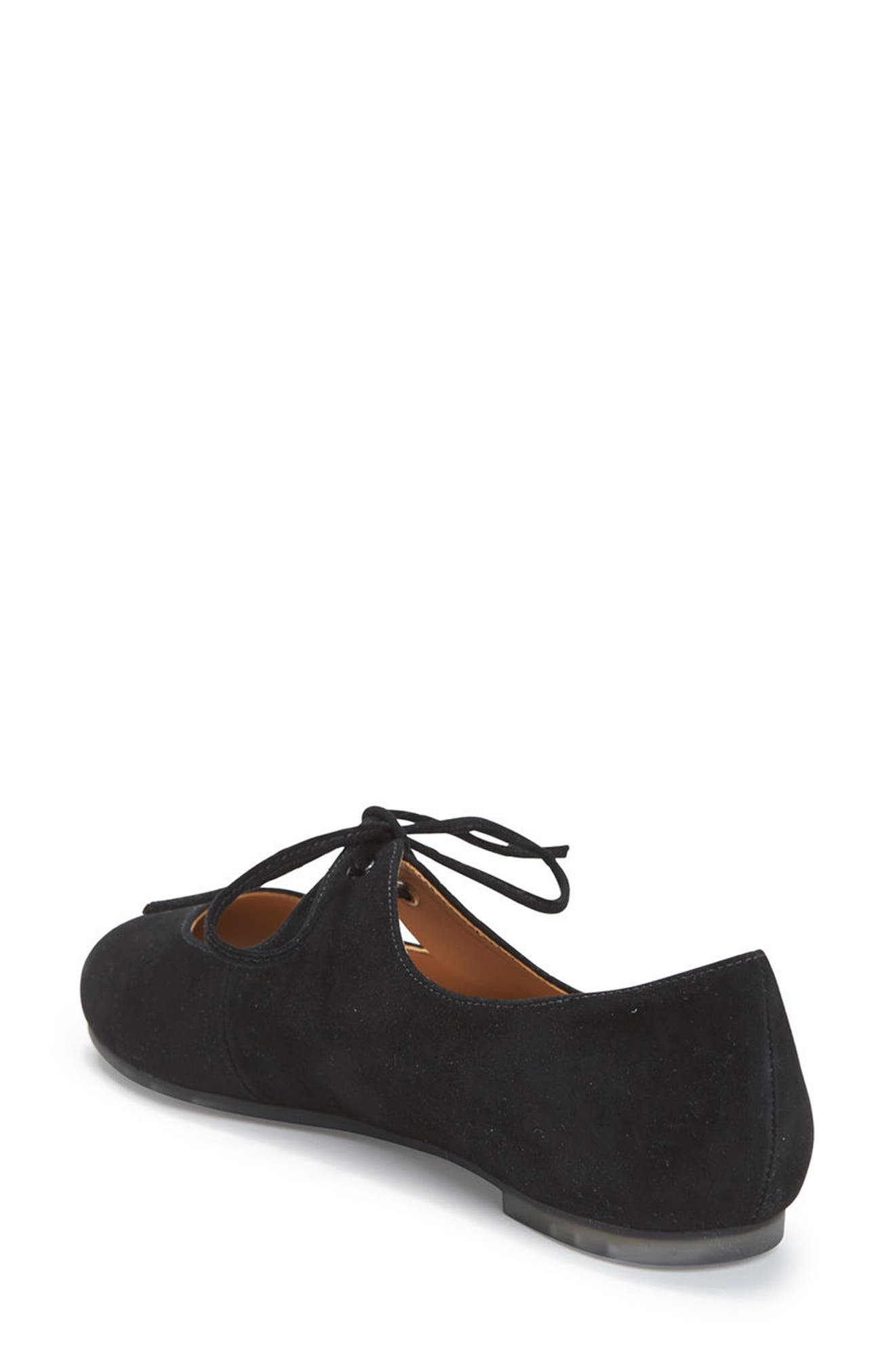 Cacey Mary Jane Flat,                             Alternate thumbnail 2, color,                             Black Suede