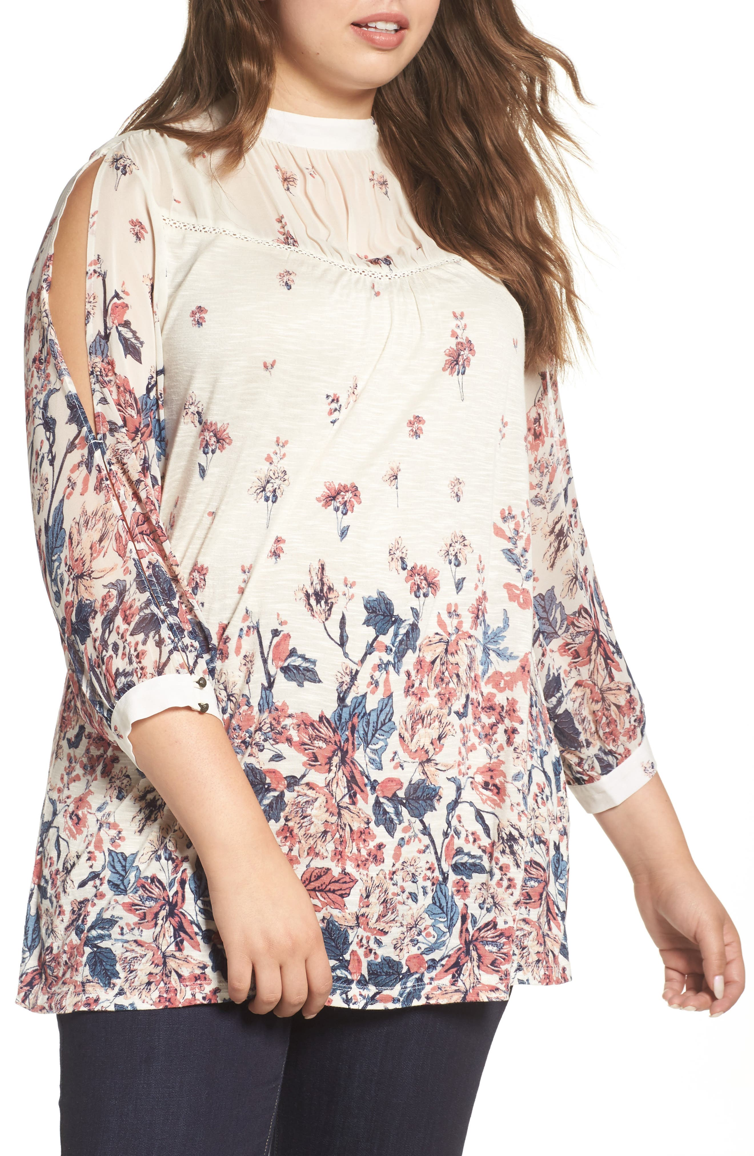 LUCKY BRAND Floral Print Mixed Media Top