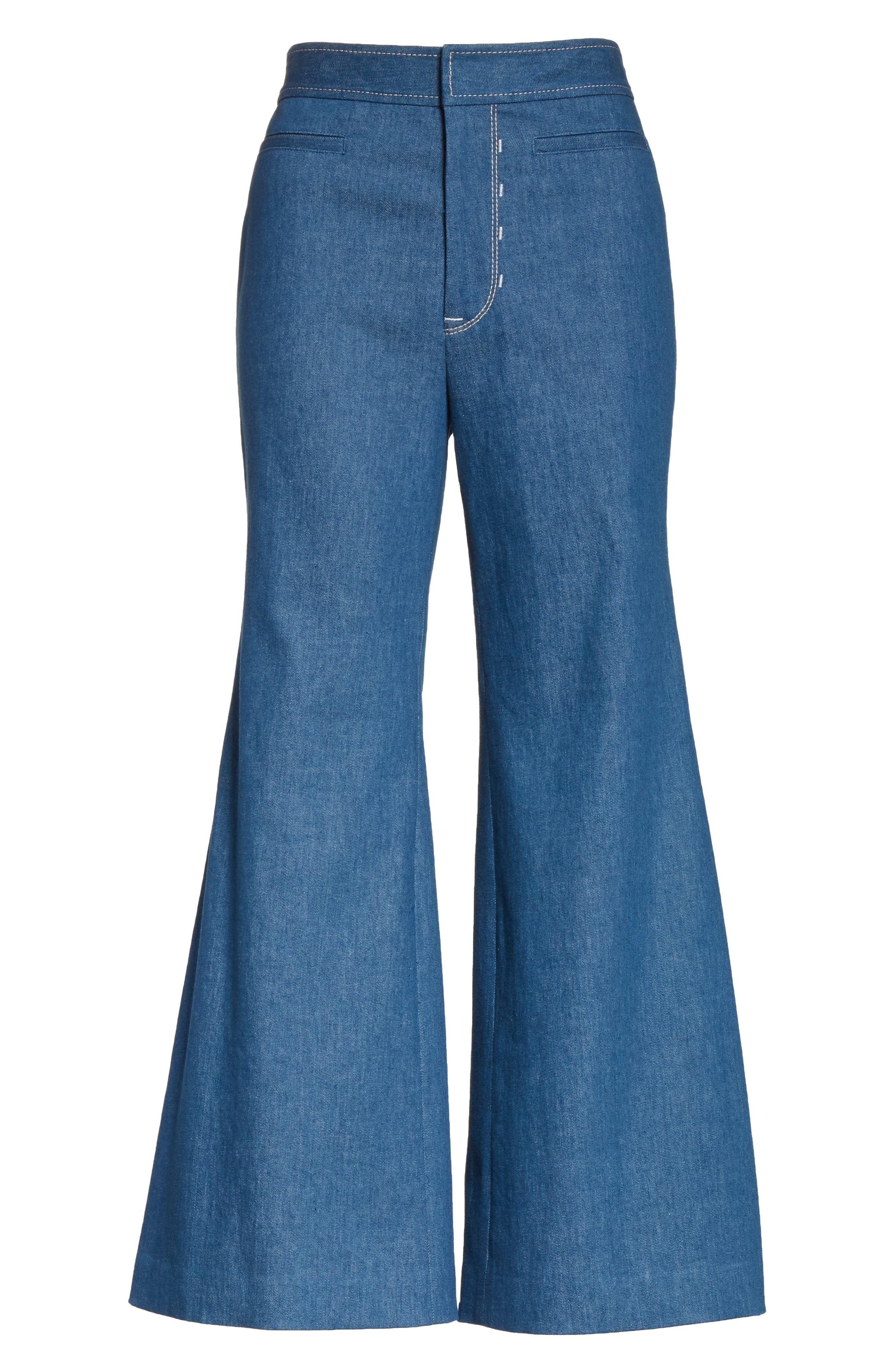 Alternate Image 6  - Colovos Crop Flare Jeans (Sea Green)