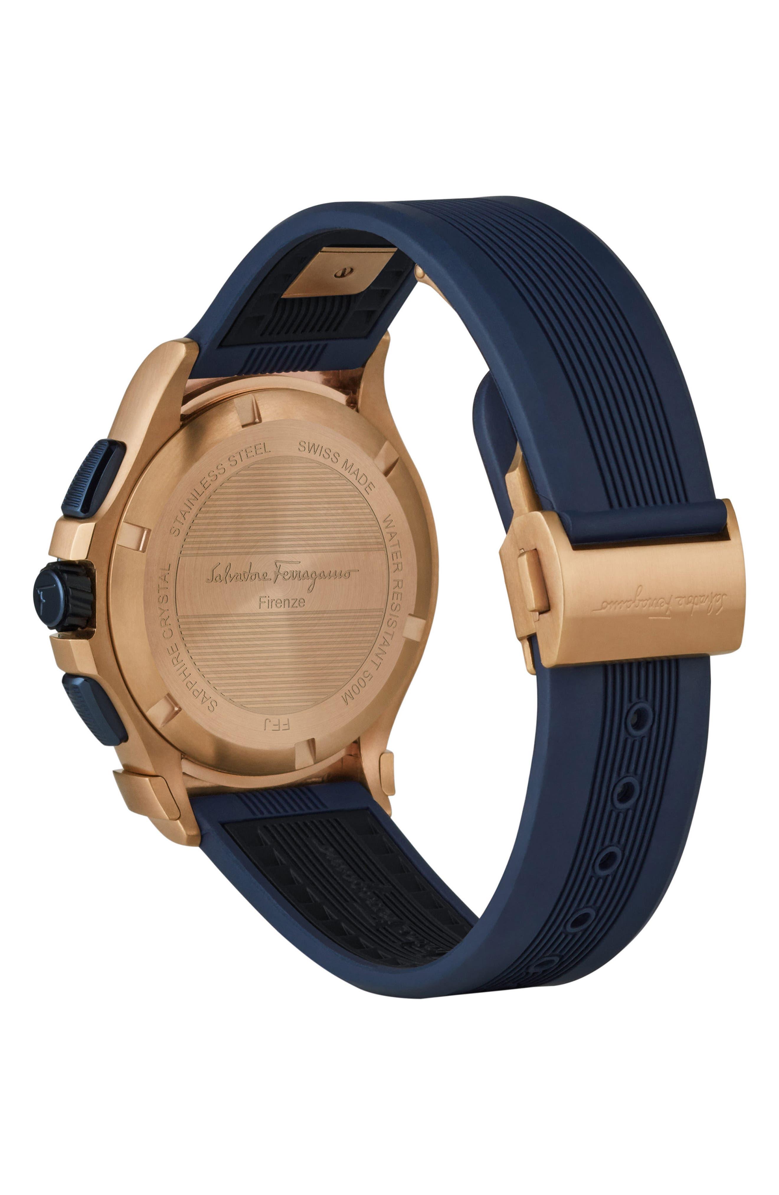 Alternate Image 2  - Salvatore Ferragamo 1898 Sport Chronograph Silicone Strap Watch, 44mm