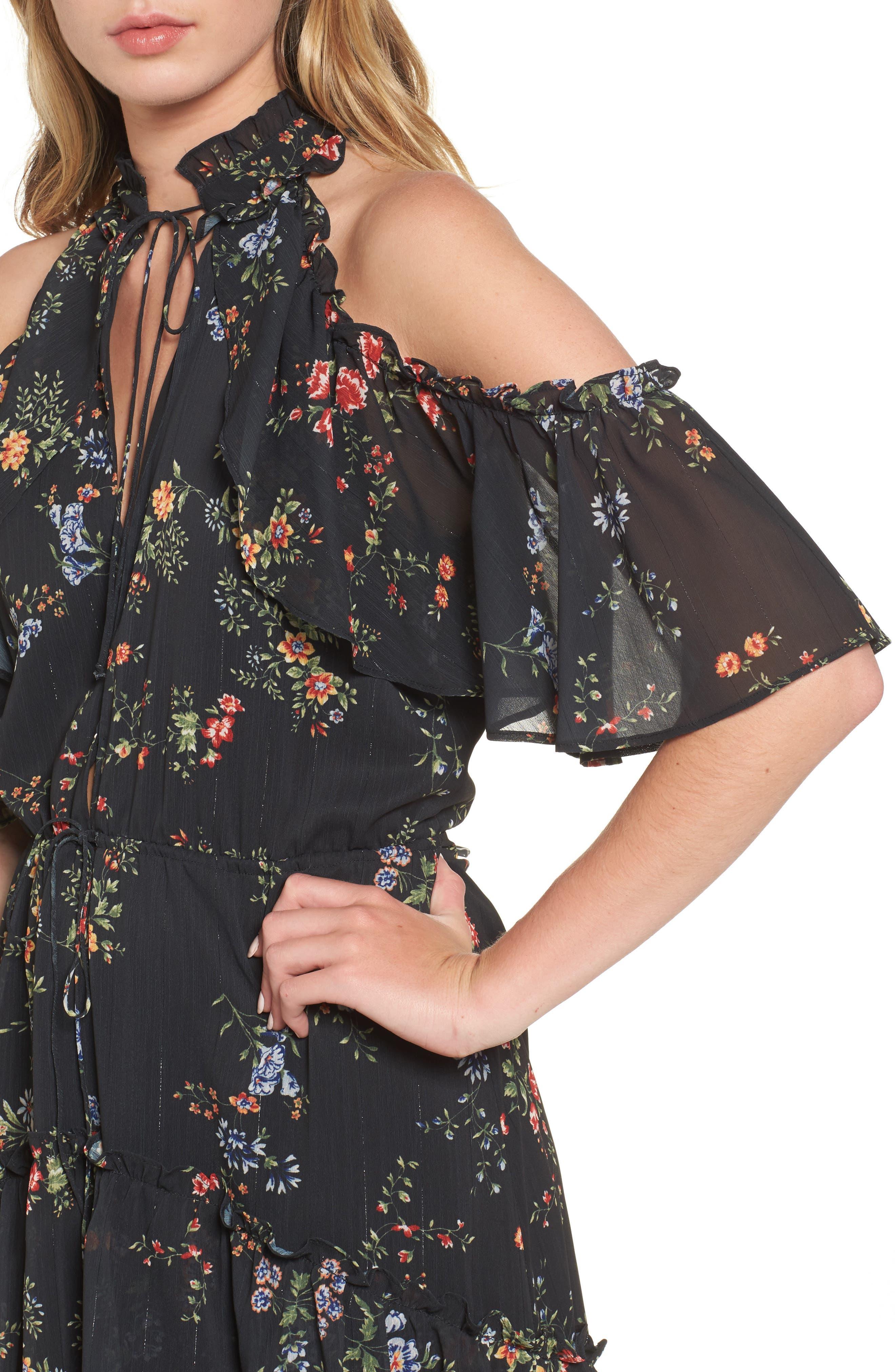 London Cold Shoulder Maxi Dress,                             Alternate thumbnail 4, color,                             Black Floral