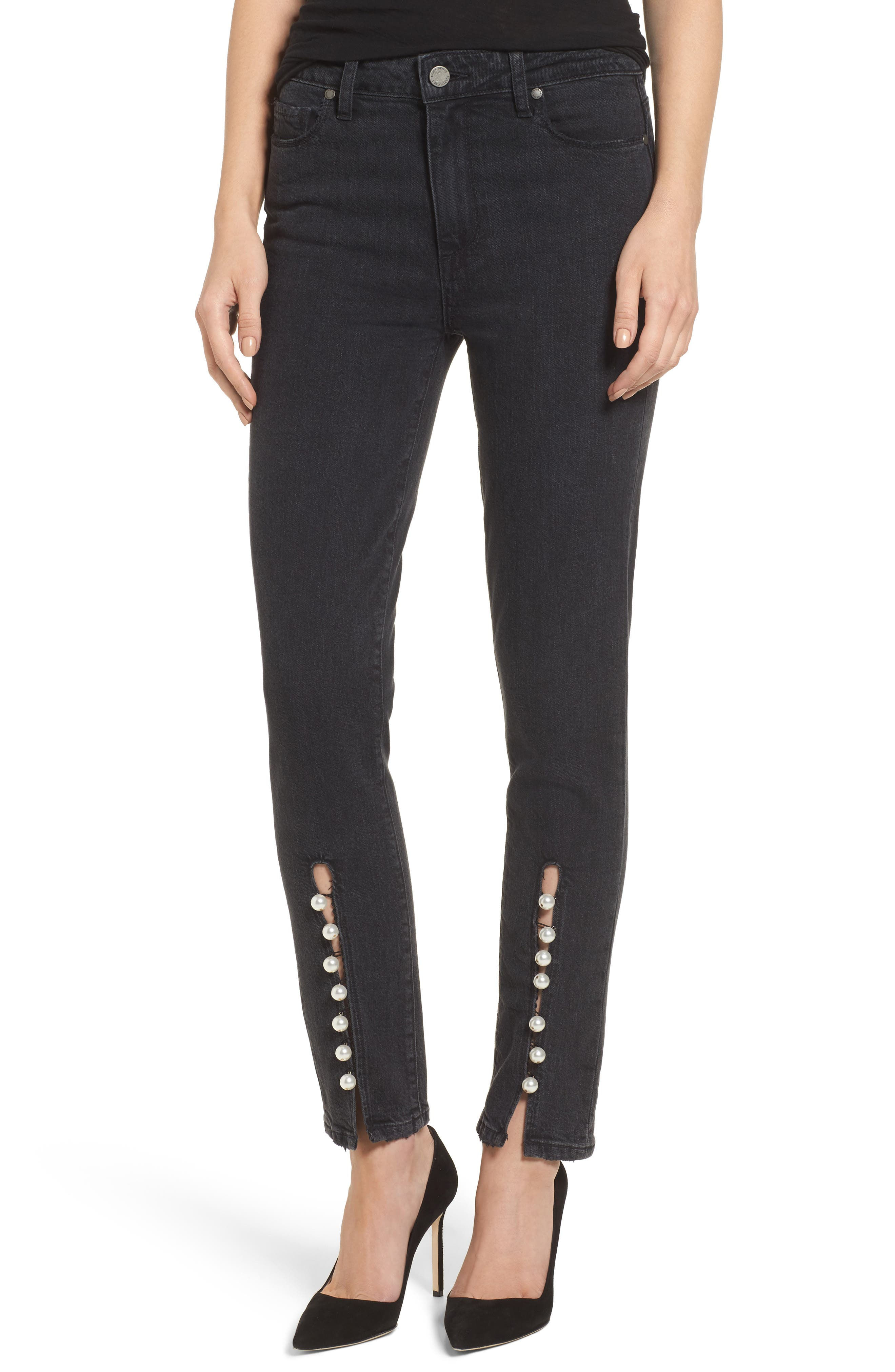 Transcend Vintage - Julia High Waist Straight Leg Jeans,                         Main,                         color, Mother Of Pearl