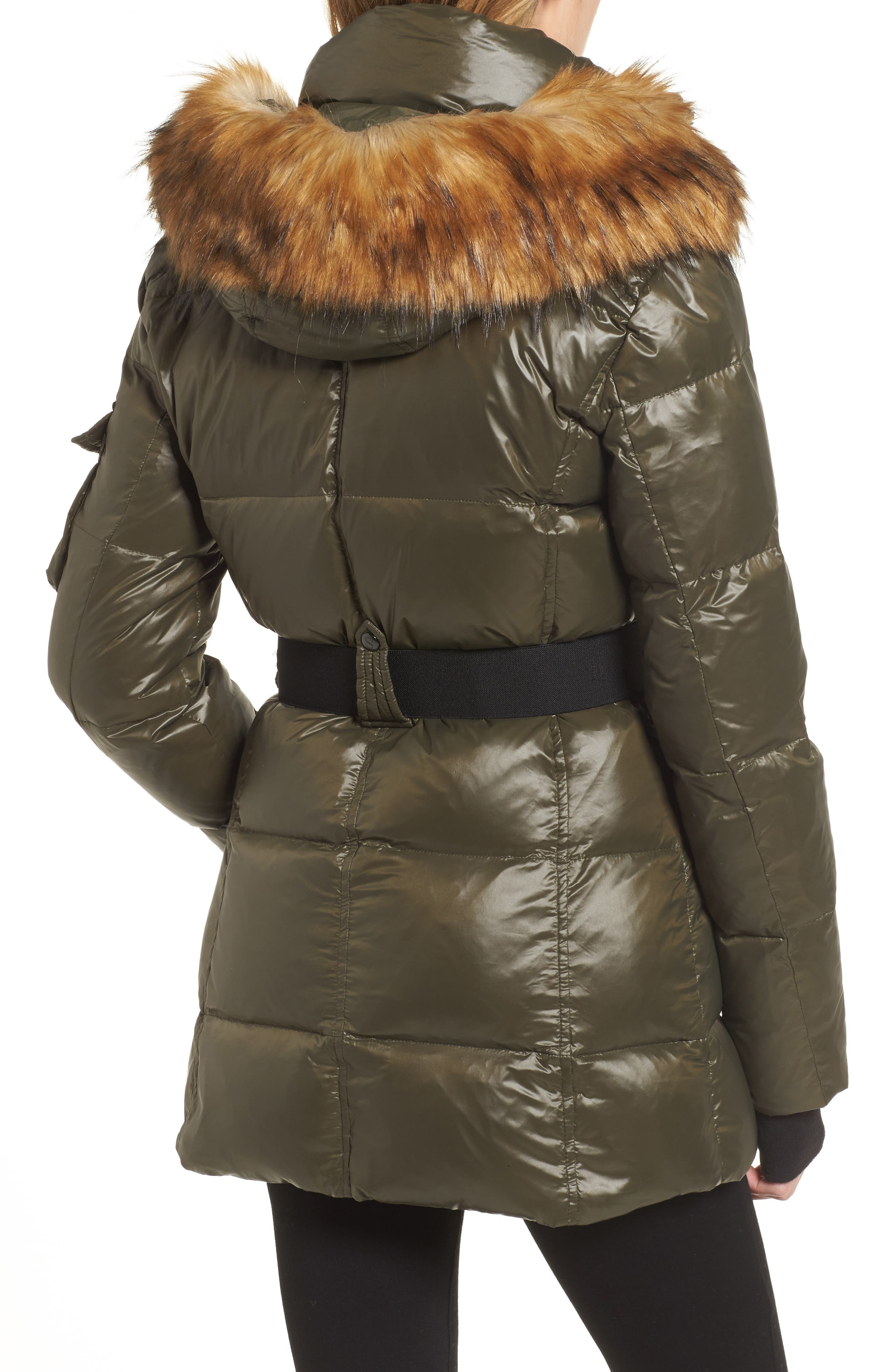 Alternate Image 2  - S13 'Nicky' Quilted Coat with Removable Faux Fur Trimmed Hood