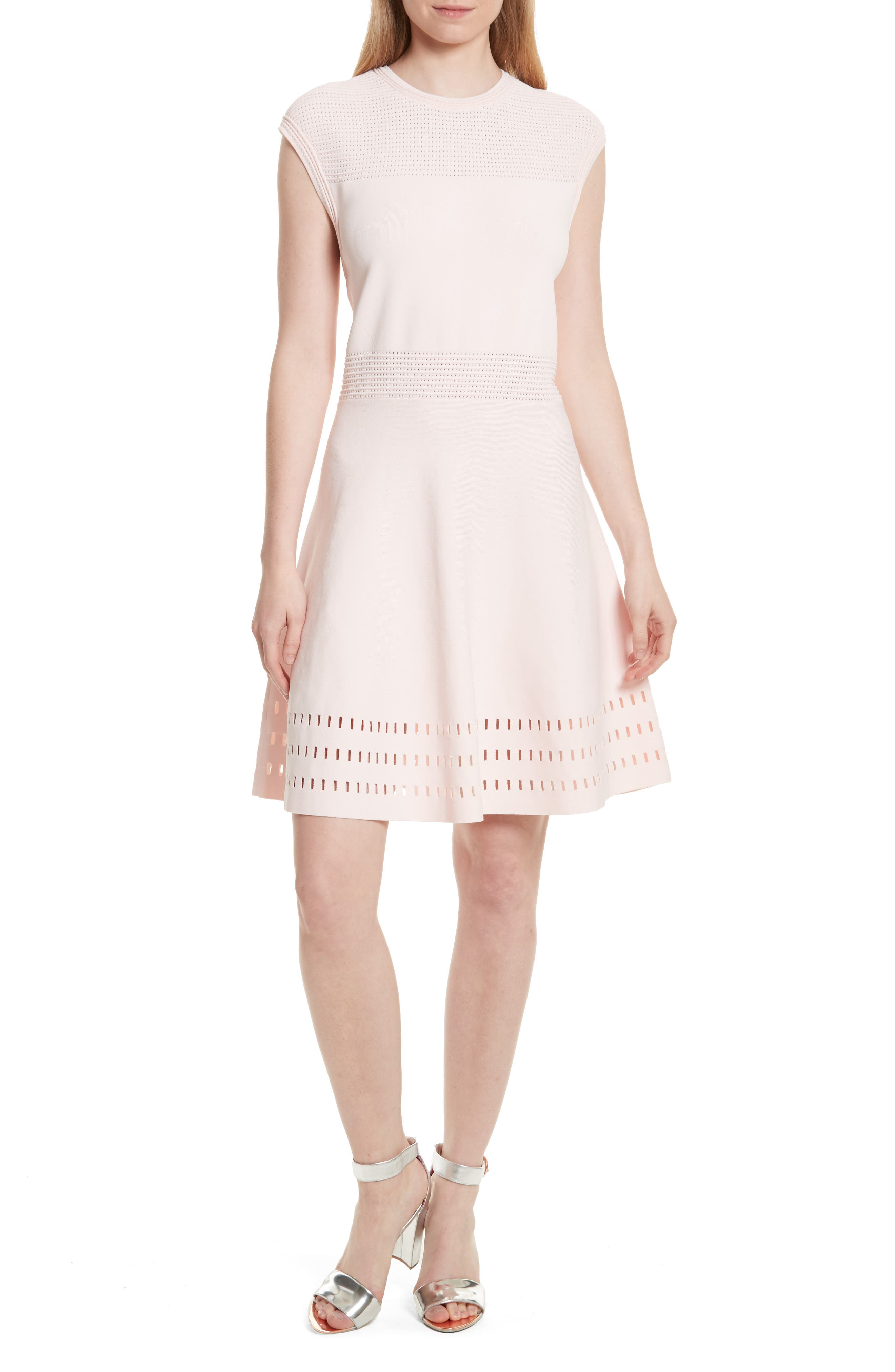 Aurbray Knit Skater Dress,                             Main thumbnail 1, color,                             Nude Pink