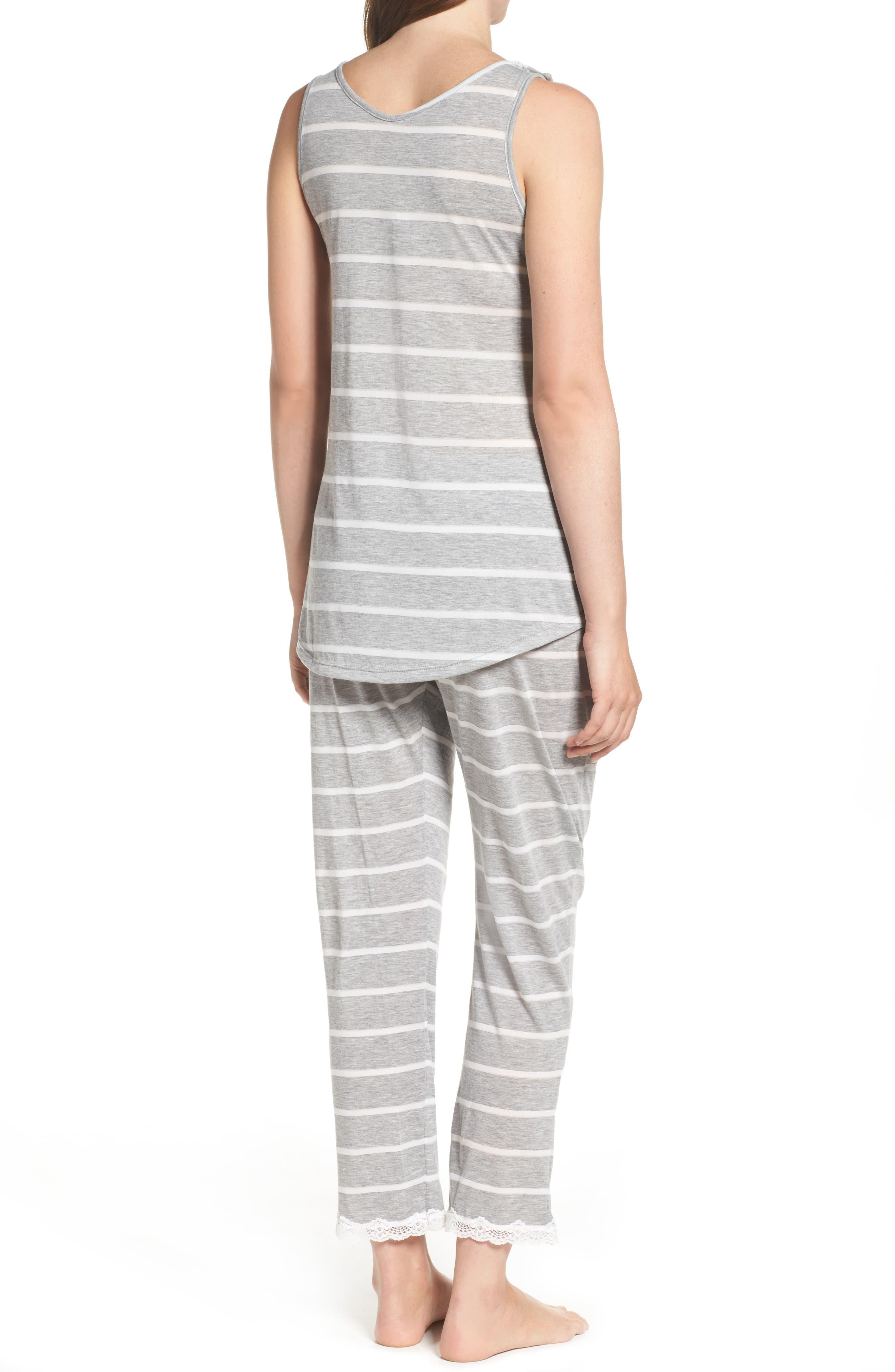 Maternity/Nursing Tank Pajamas,                             Alternate thumbnail 2, color,                             Grey Stripe