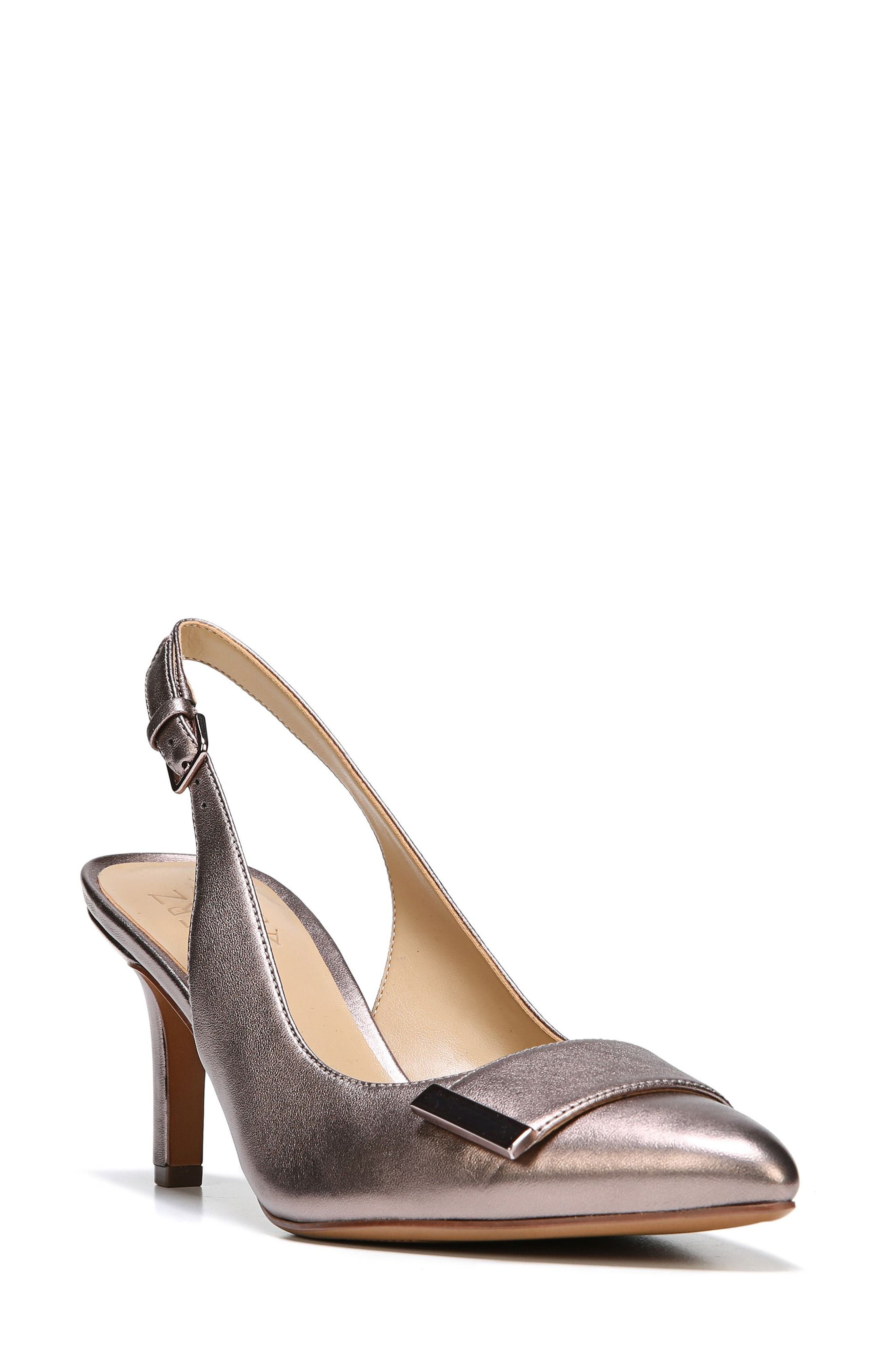 Nicolette Slingback Pump,                             Main thumbnail 1, color,                             Bronze Alloy Metallic Leather