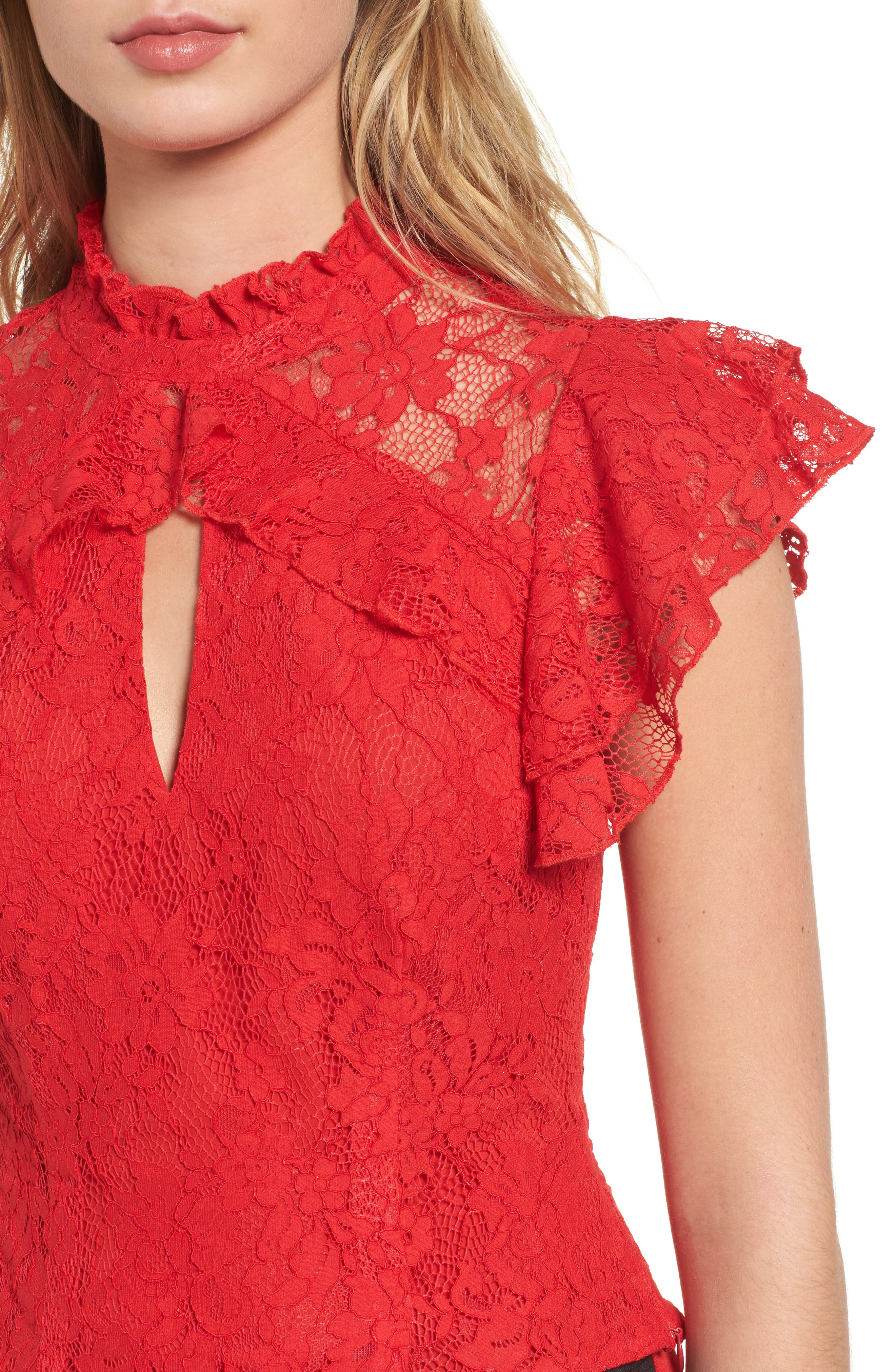 Alternate Image 4  - AFRM Blaire Ruffle Lace Top