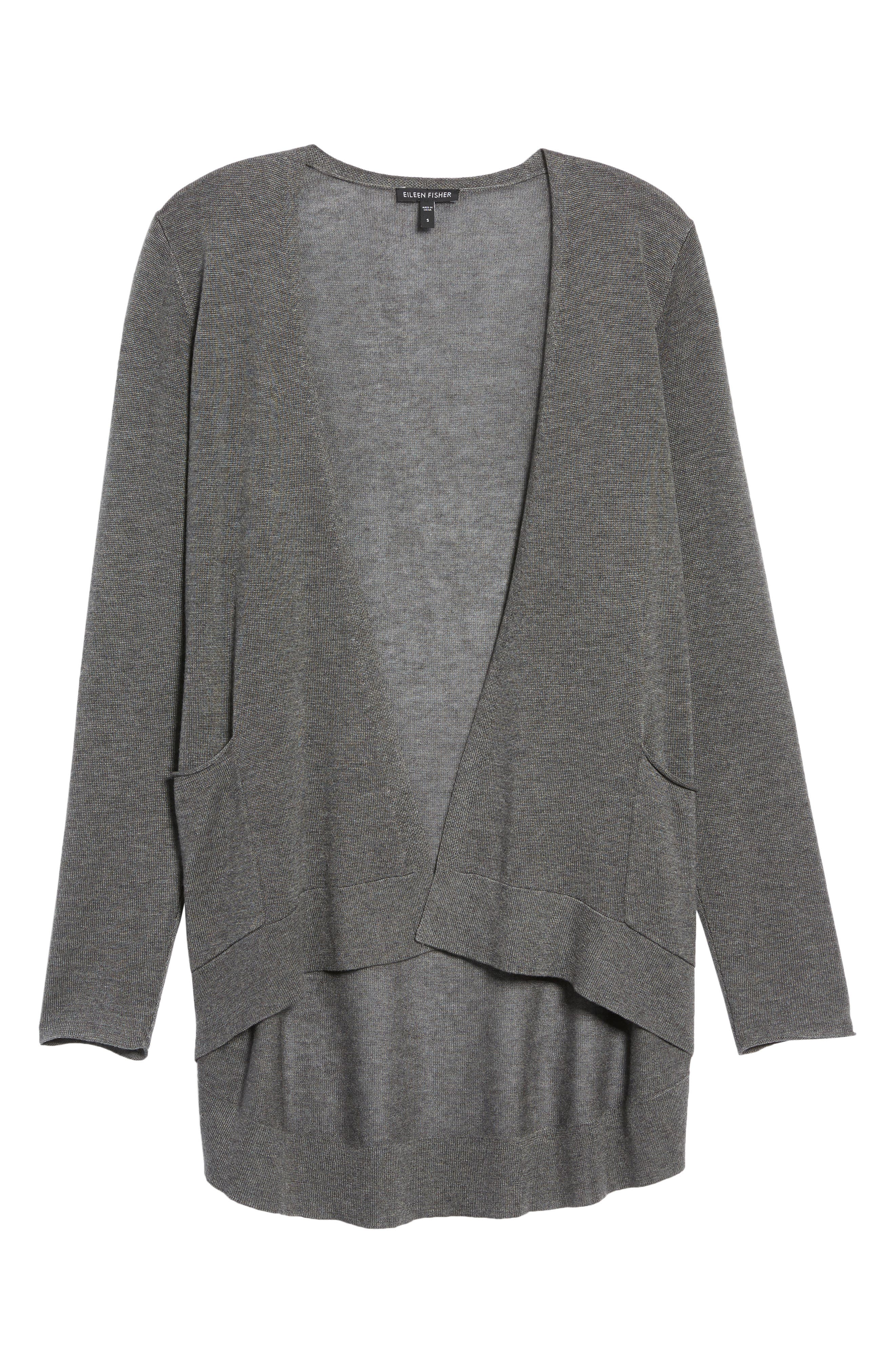 Slouchy Tencel<sup>®</sup> Blend Cardigan,                             Alternate thumbnail 6, color,                             Ash