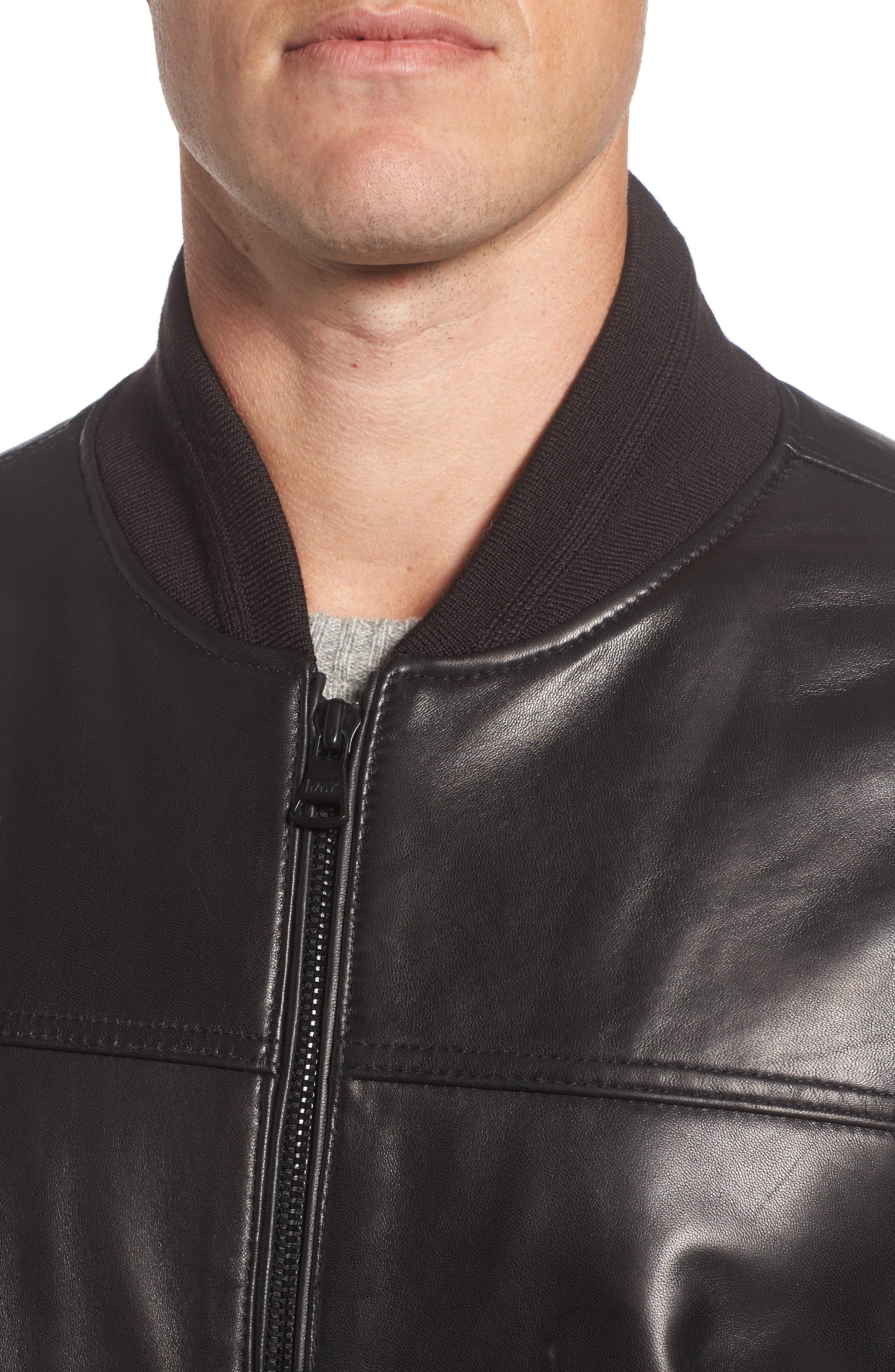 Summit Leather Bomber Jacket,                             Alternate thumbnail 4, color,                             Black