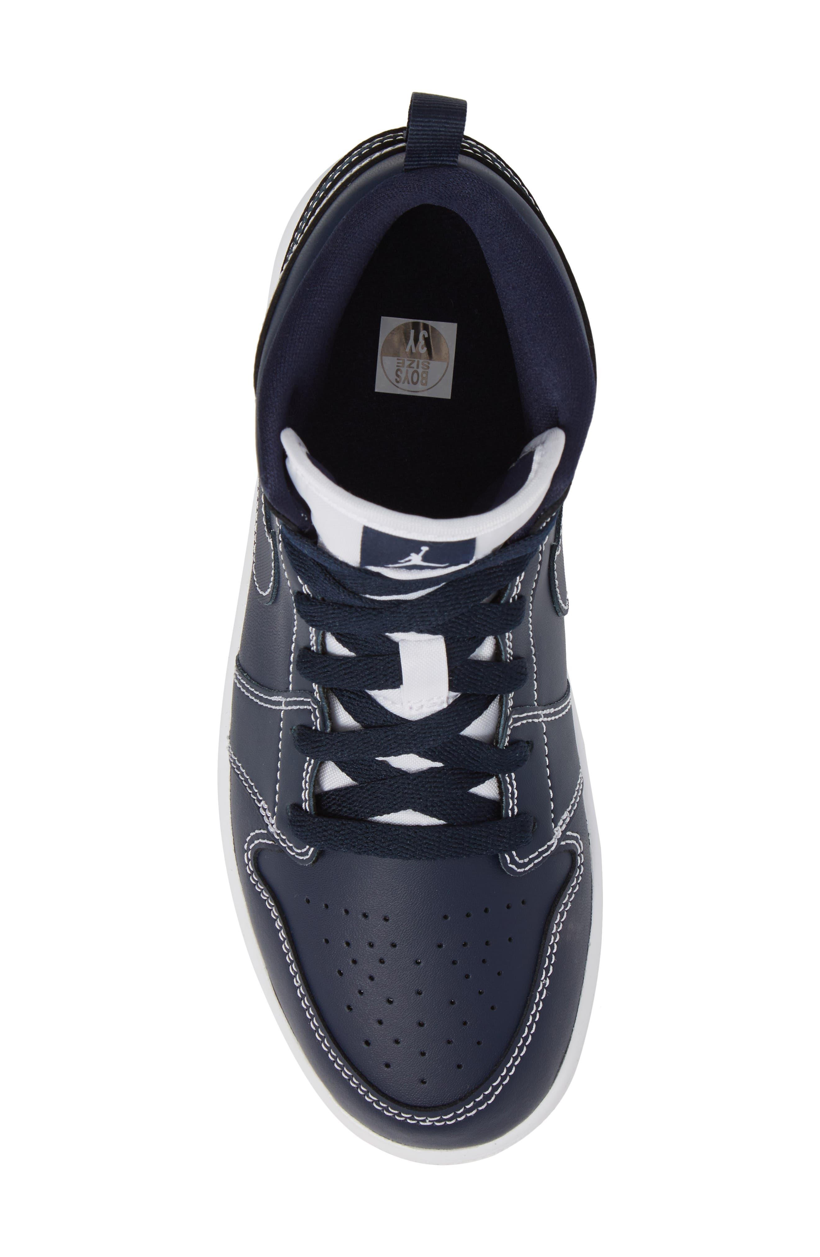'Air Jordan 1' Mid Sneaker,                             Alternate thumbnail 5, color,                             Obsidian/ White