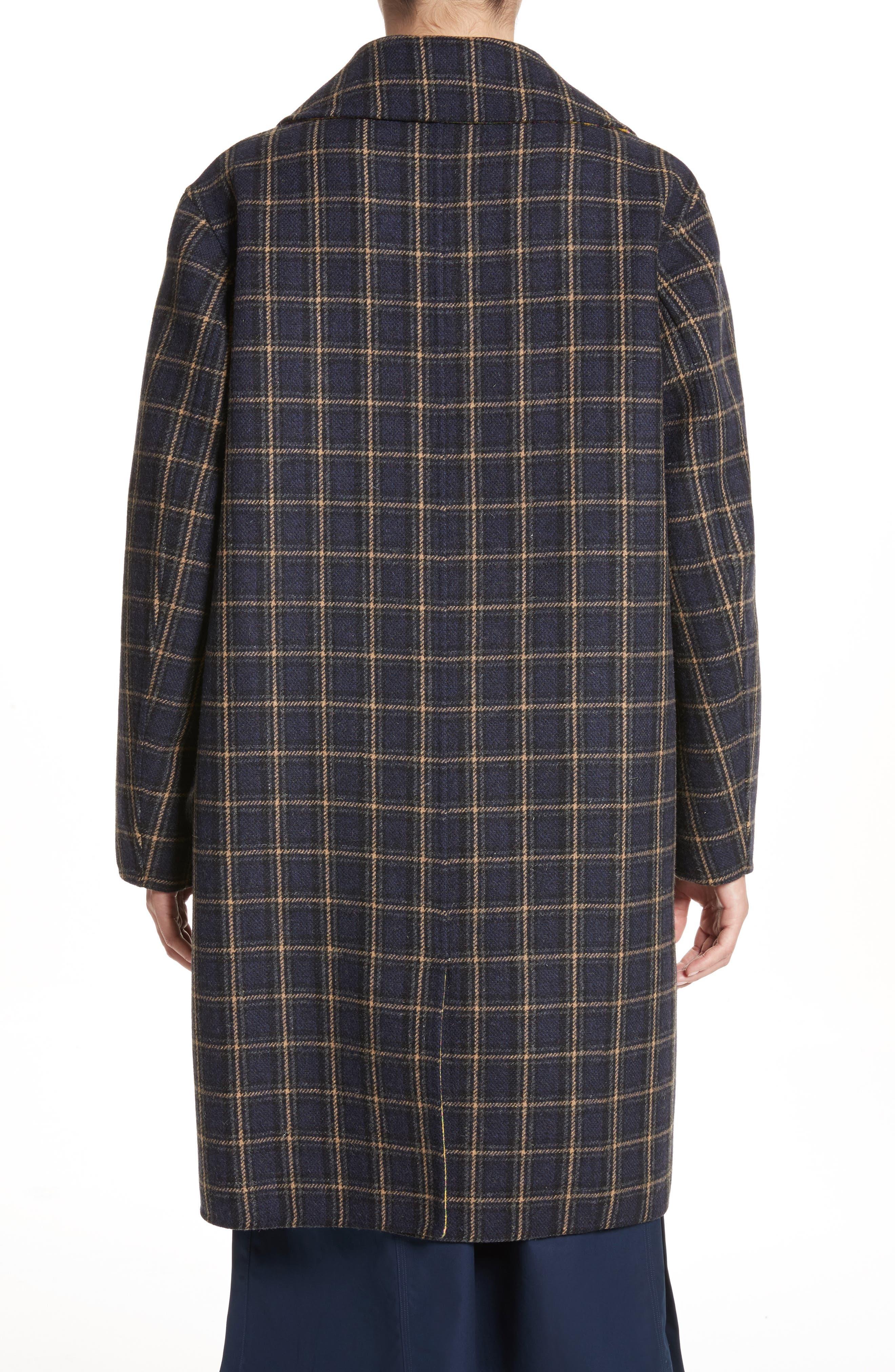 Alternate Image 3  - Sofie D'Hoore Plaid Wool Blend Car Coat