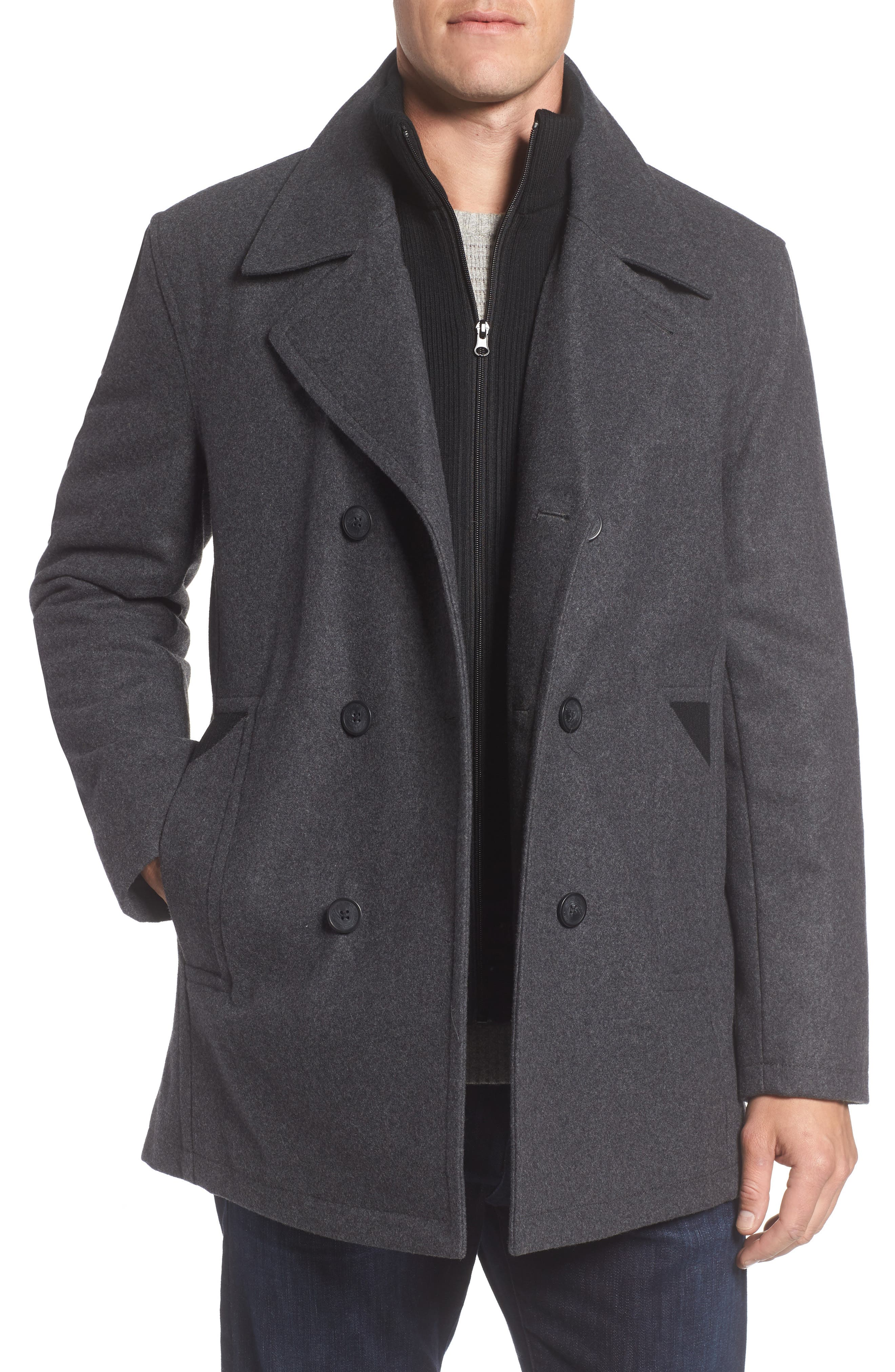 Burnett Wool Blend Peacoat with Front Insert,                         Main,                         color, Charcoal
