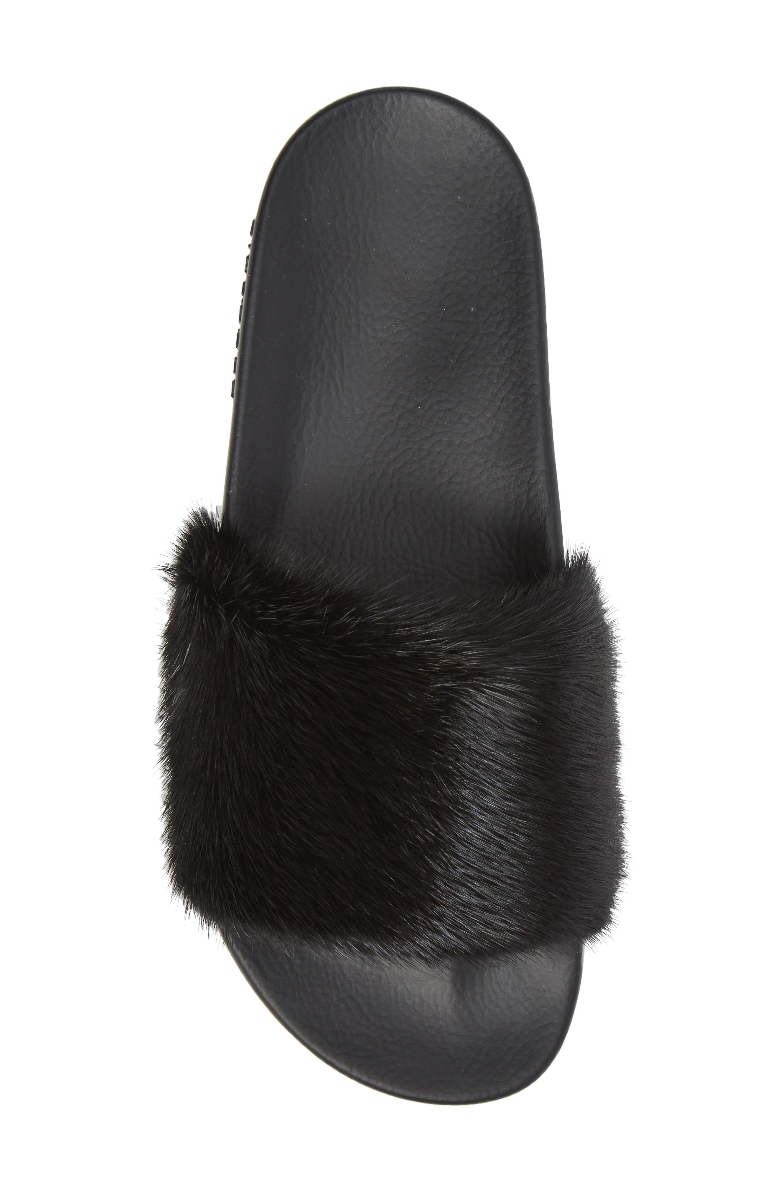 Genuine Mink Fur Slide Sandal,                             Alternate thumbnail 5, color,                             Black