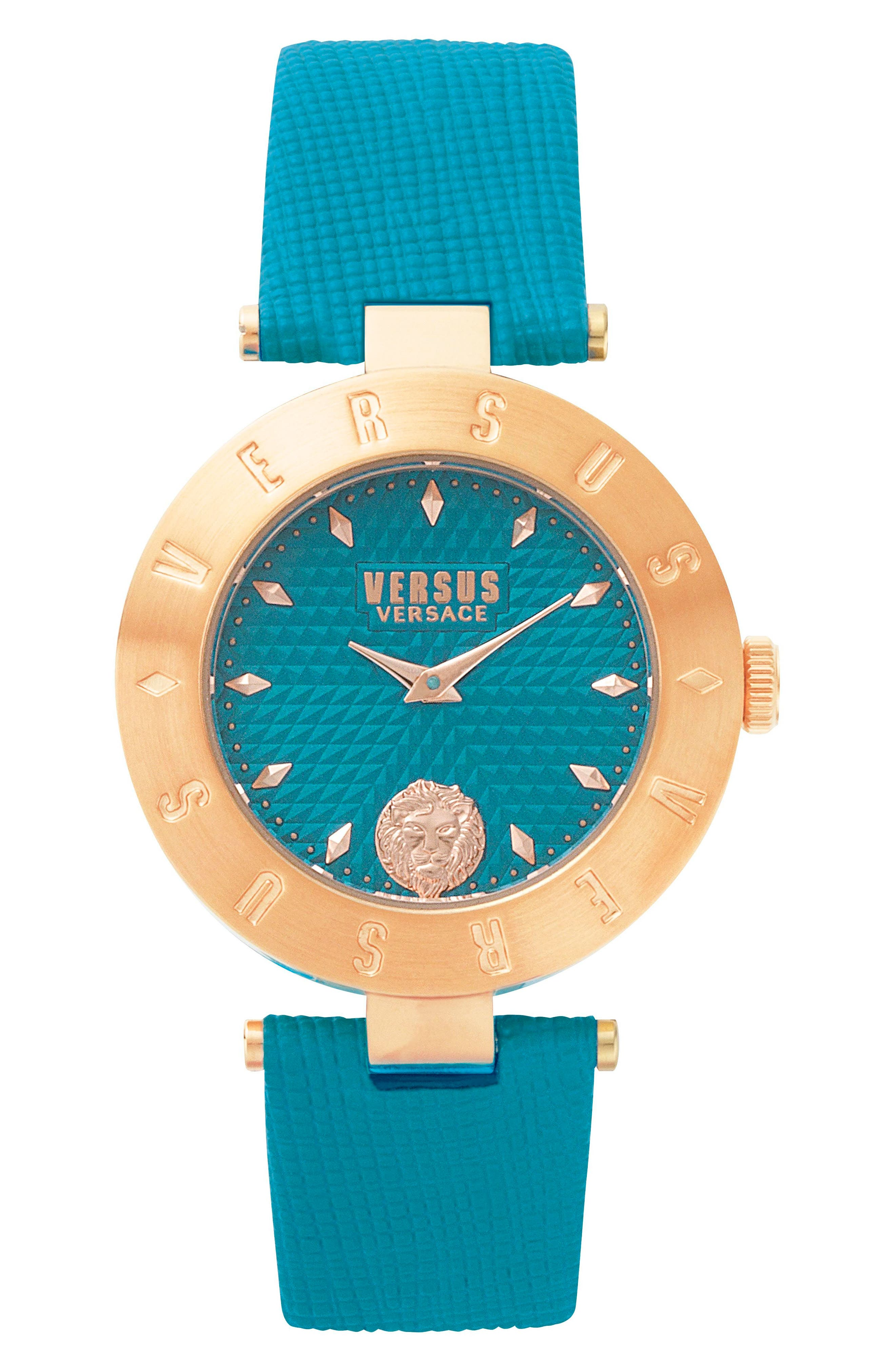Versus by Versace New Logo Leather Strap Watch, 34mm,                             Main thumbnail 1, color,                             Green/ Gold