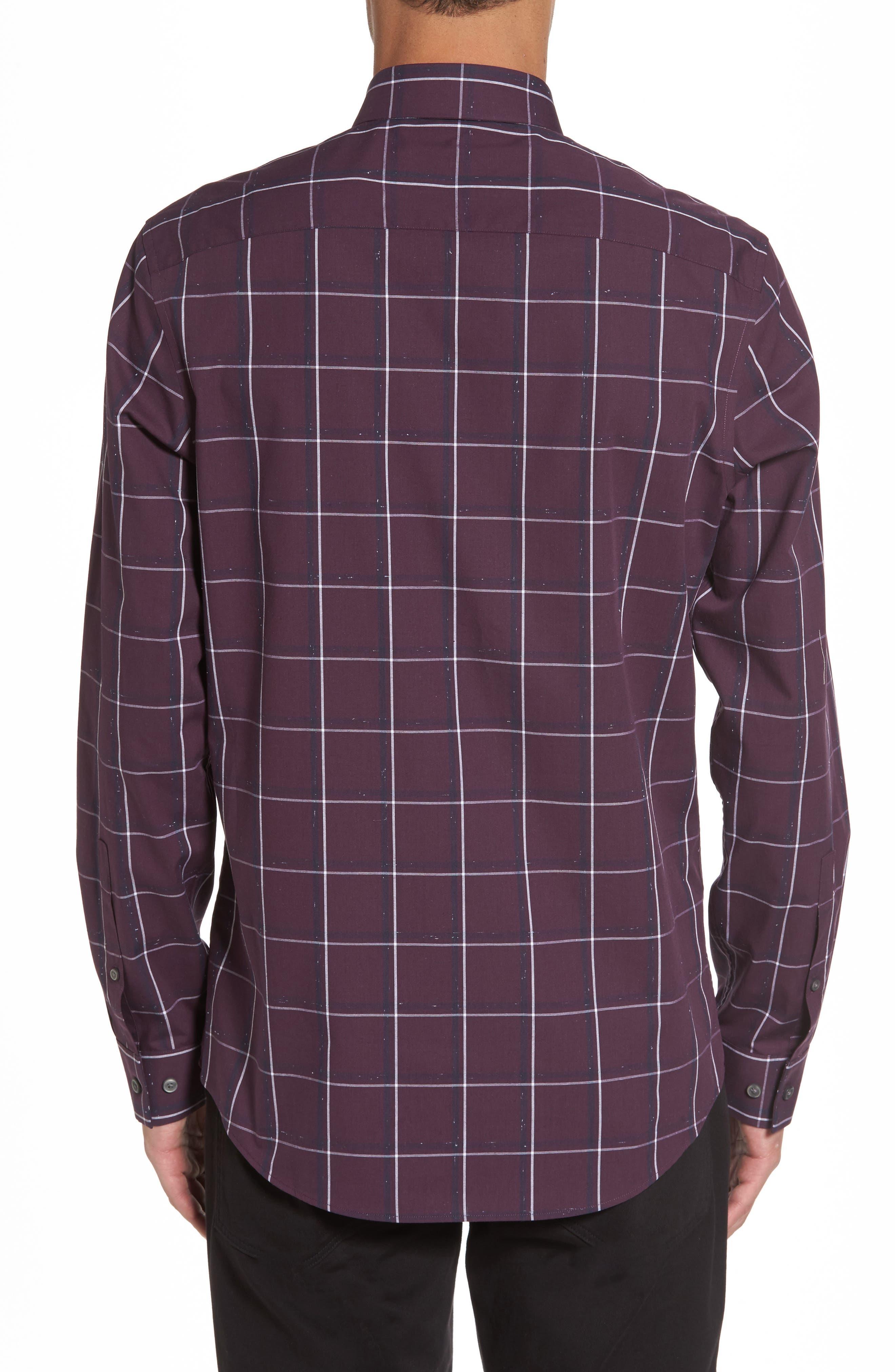 Check Sport Shirt,                             Alternate thumbnail 2, color,                             Purple Plum White Grid