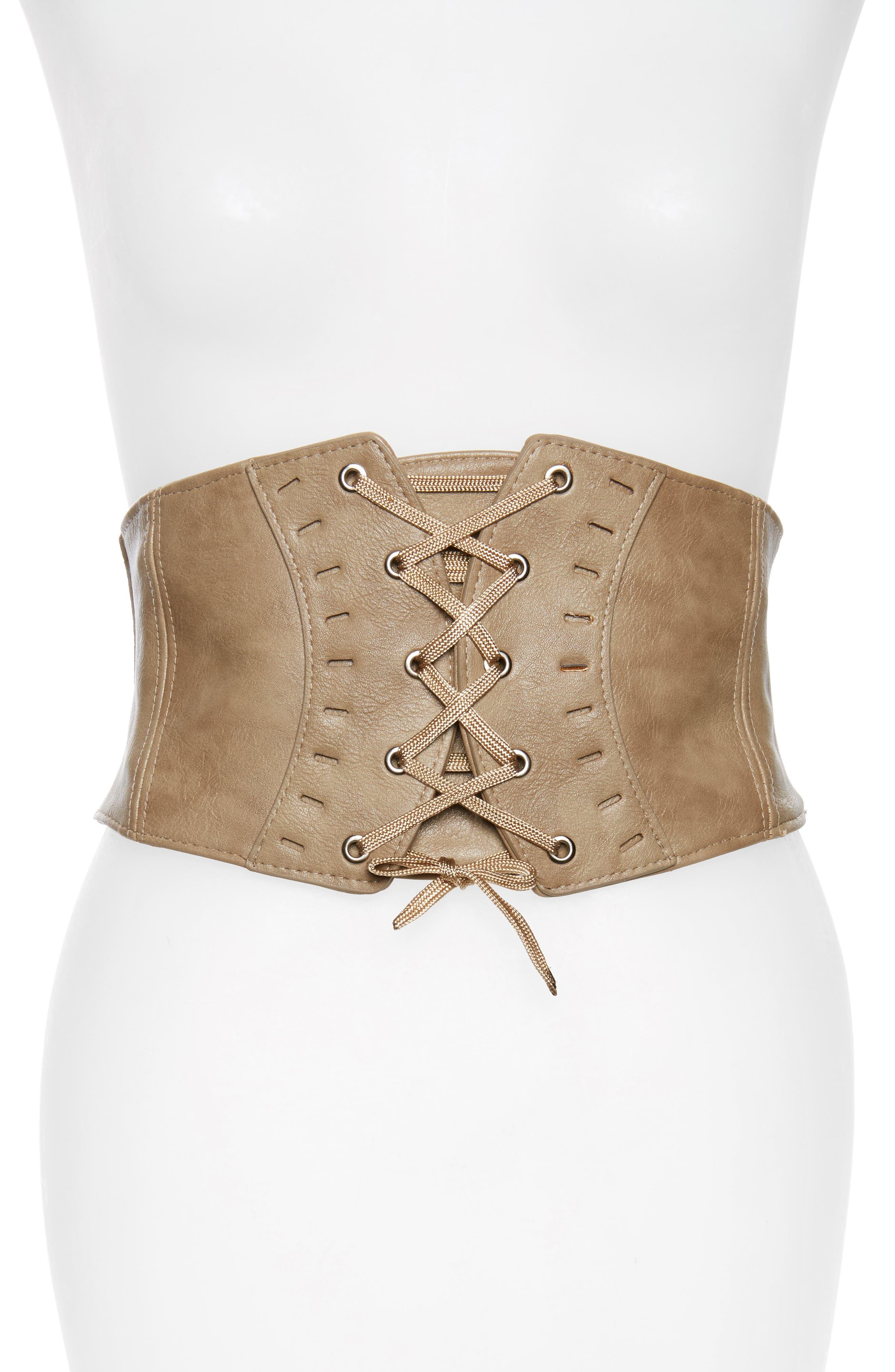 BP. Faux Leather Trim Corset Belt