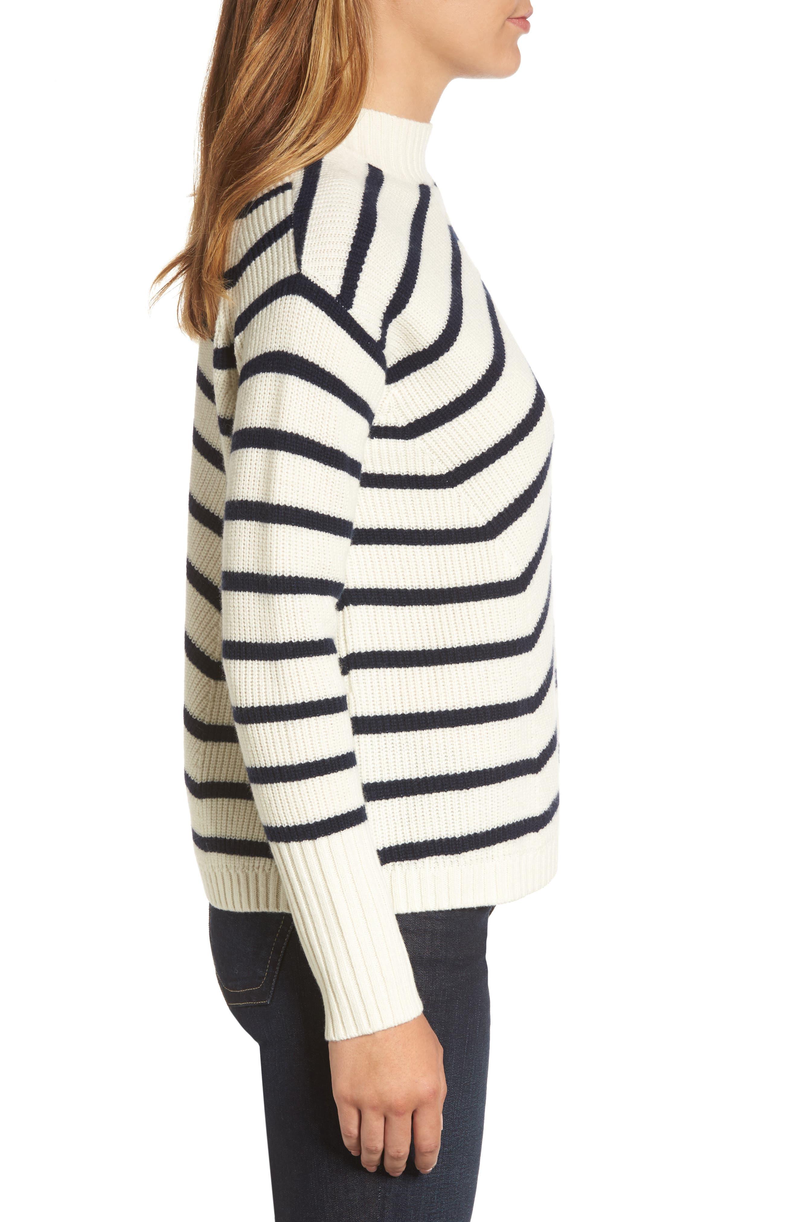 Stripe Fisherman Sweater,                             Alternate thumbnail 3, color,                             Marshmallow