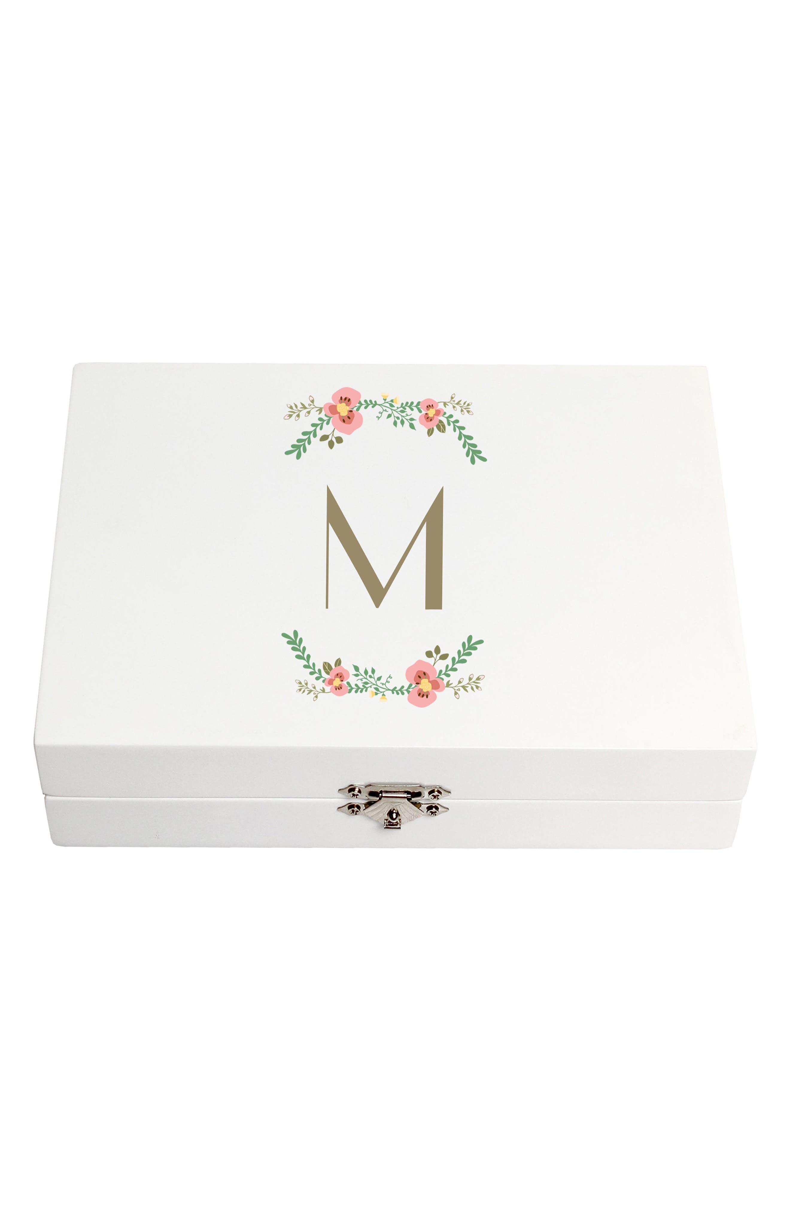 Monogram Floral Wedding Ring Box,                             Main thumbnail 1, color,                             White - M