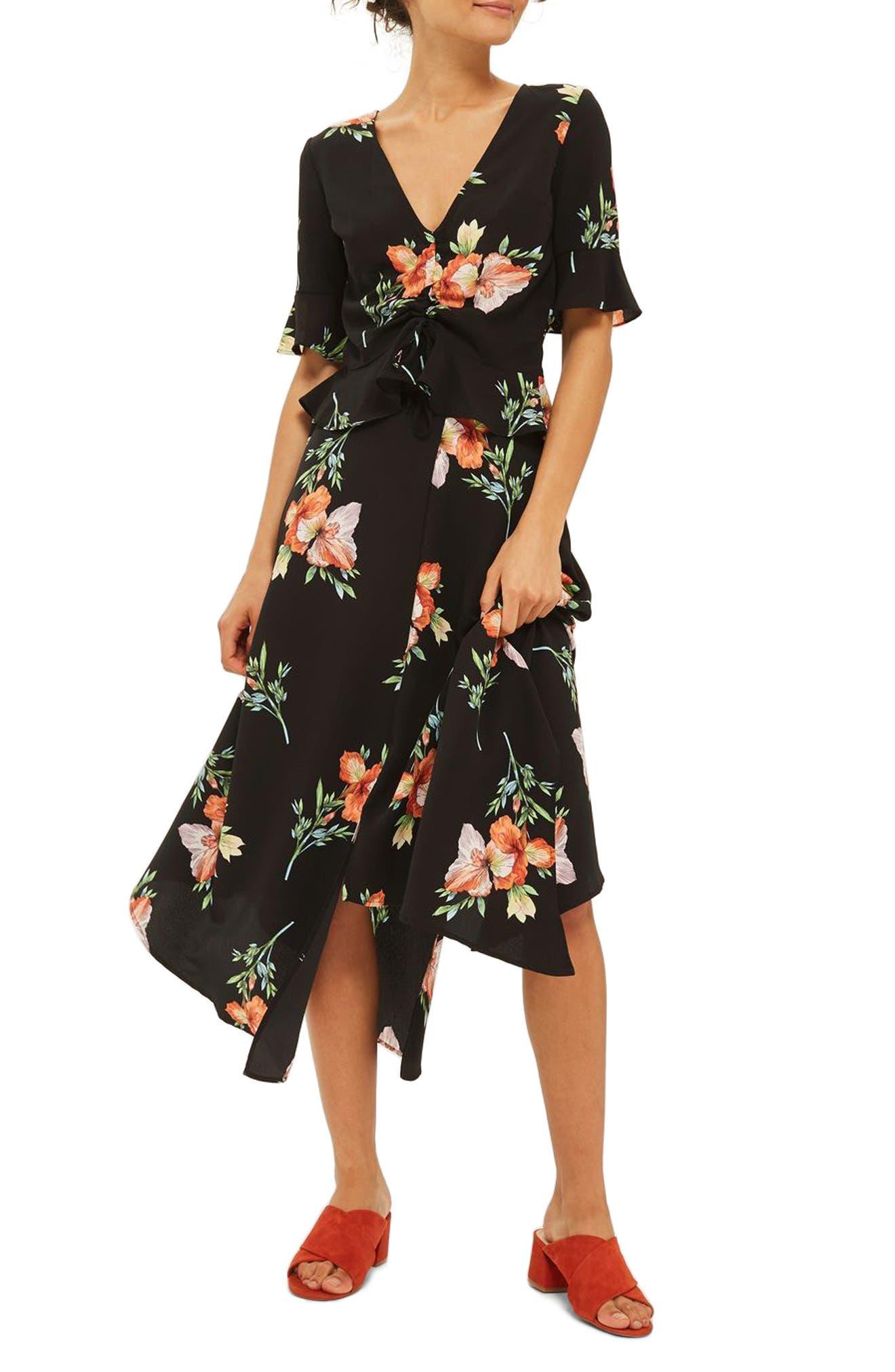 Alternate Image 1 Selected - Topshop Sunset Iris Handkerchief Hem Skirt