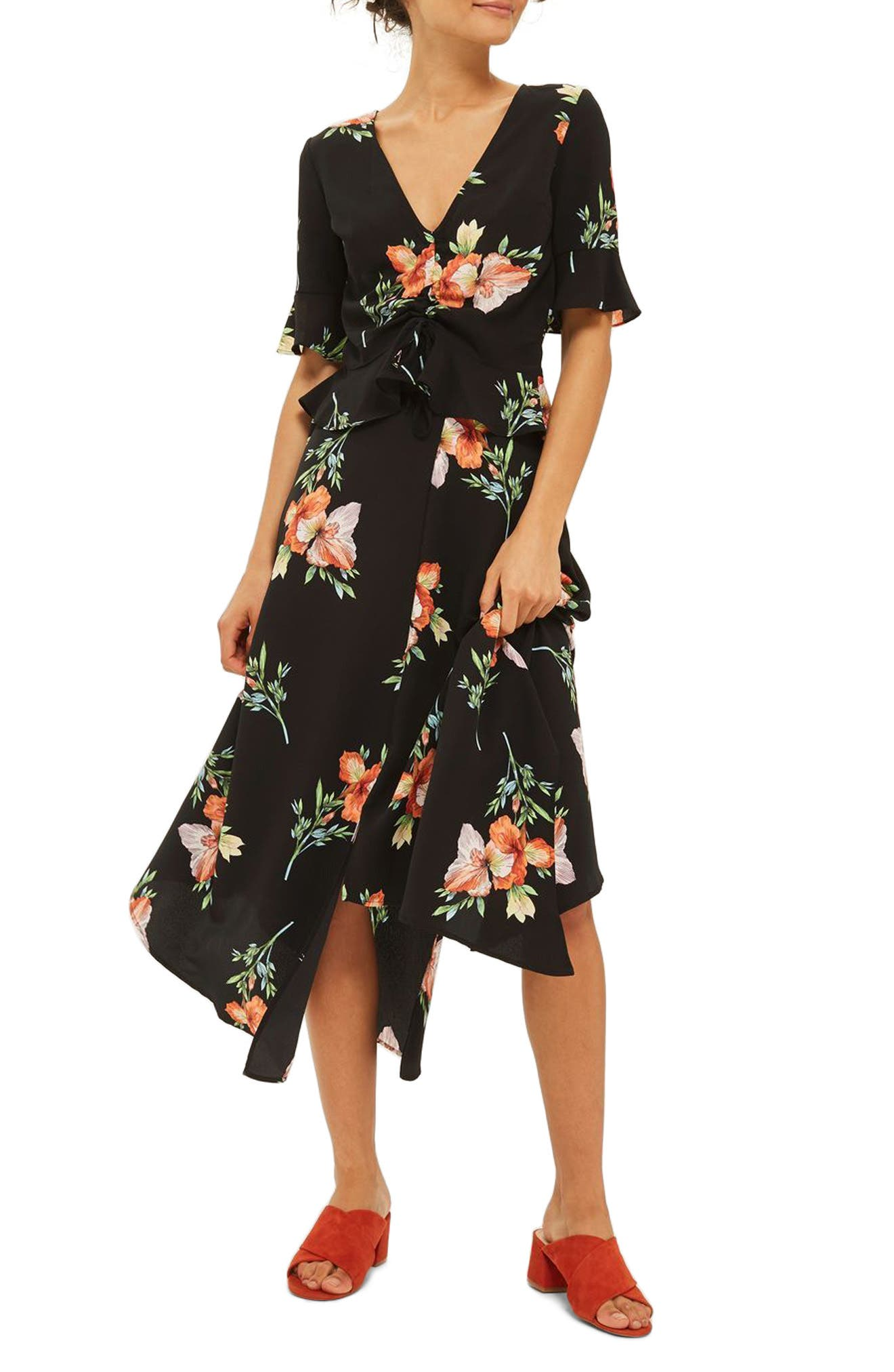Main Image - Topshop Sunset Iris Handkerchief Hem Skirt