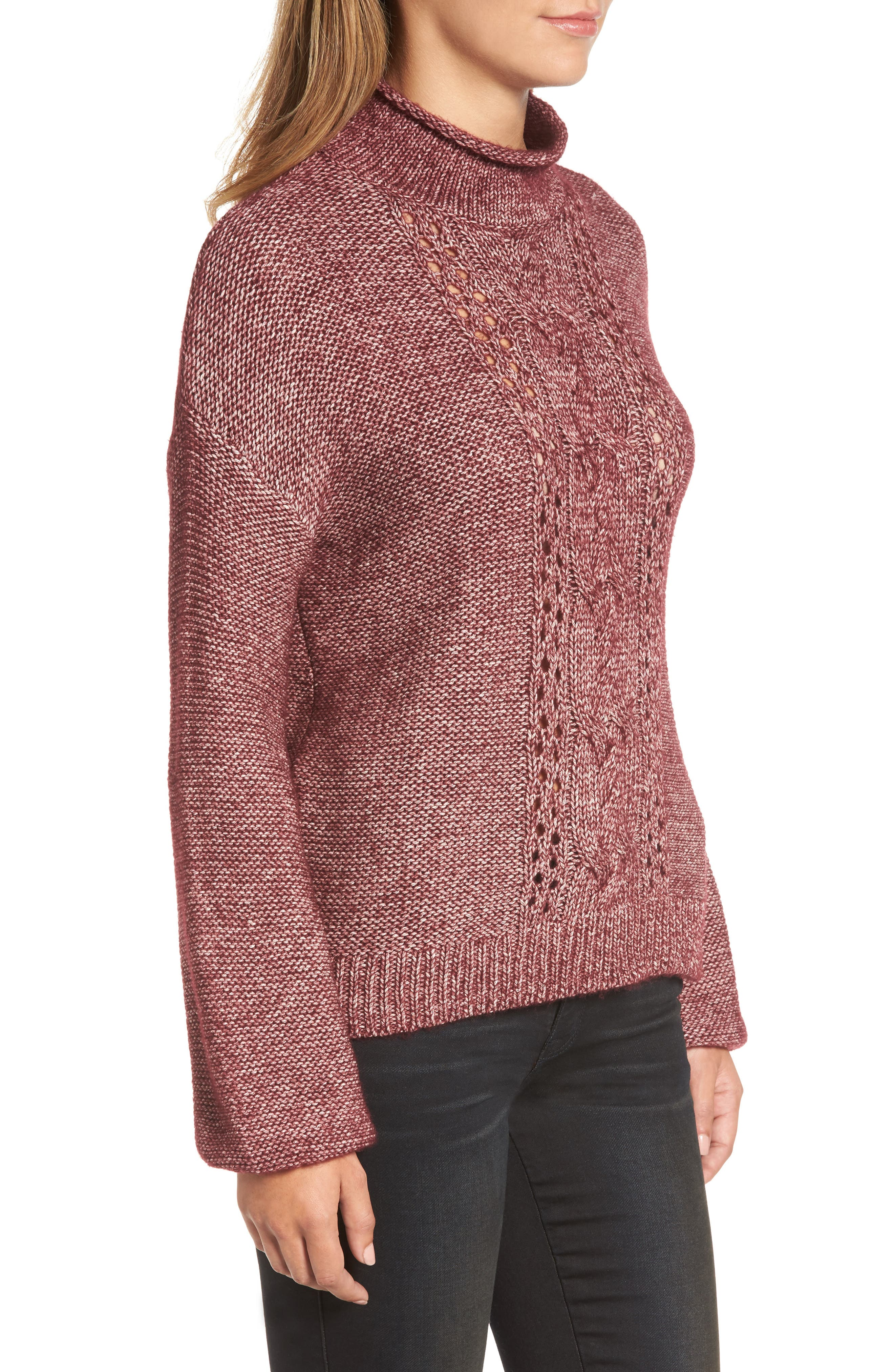 Open Cable Knit Funnel Neck Sweater,                             Alternate thumbnail 3, color,                             Burgundy