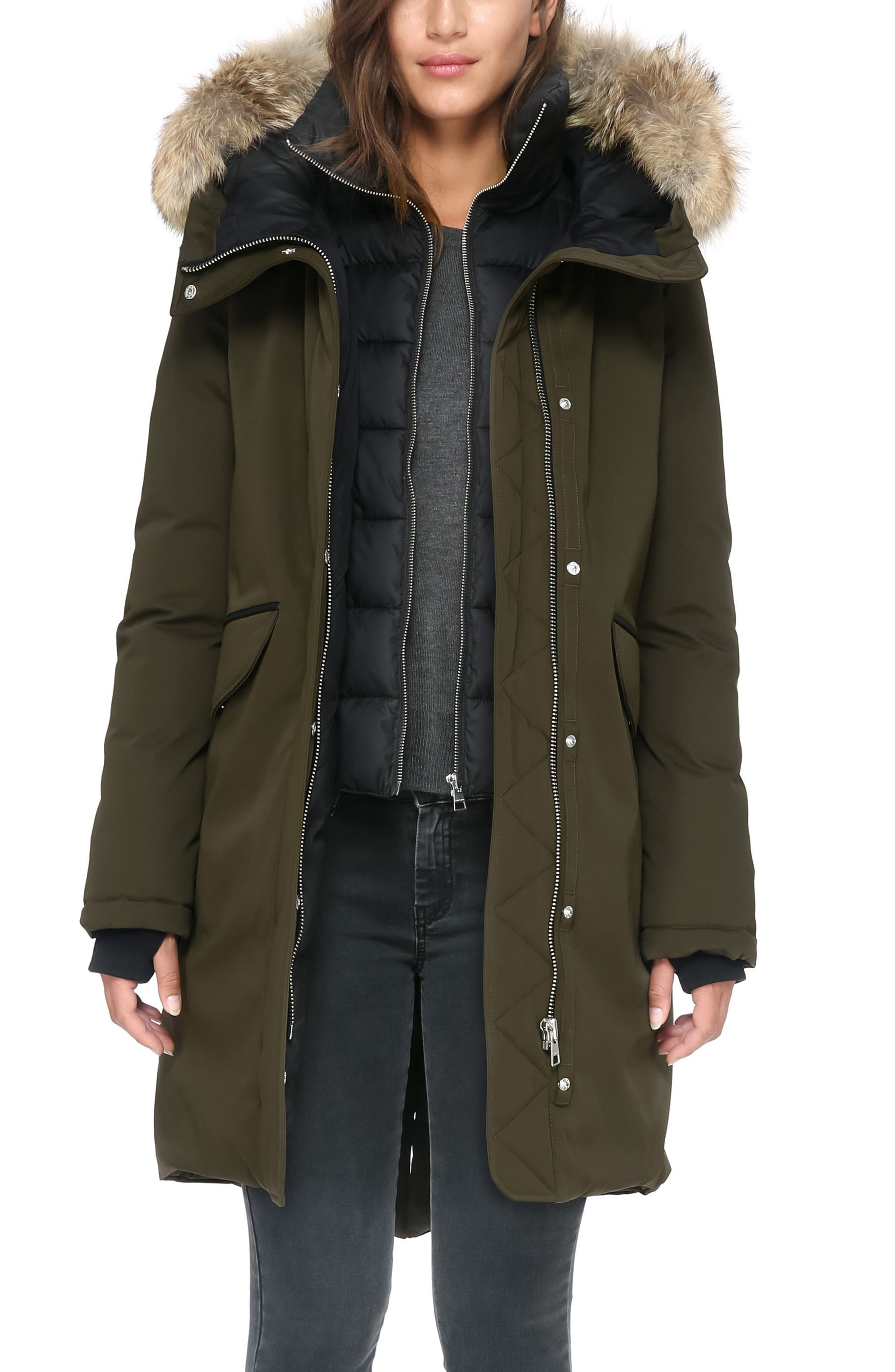 Genuine Coyote Fur Hooded Down Parka,                         Main,                         color, Army