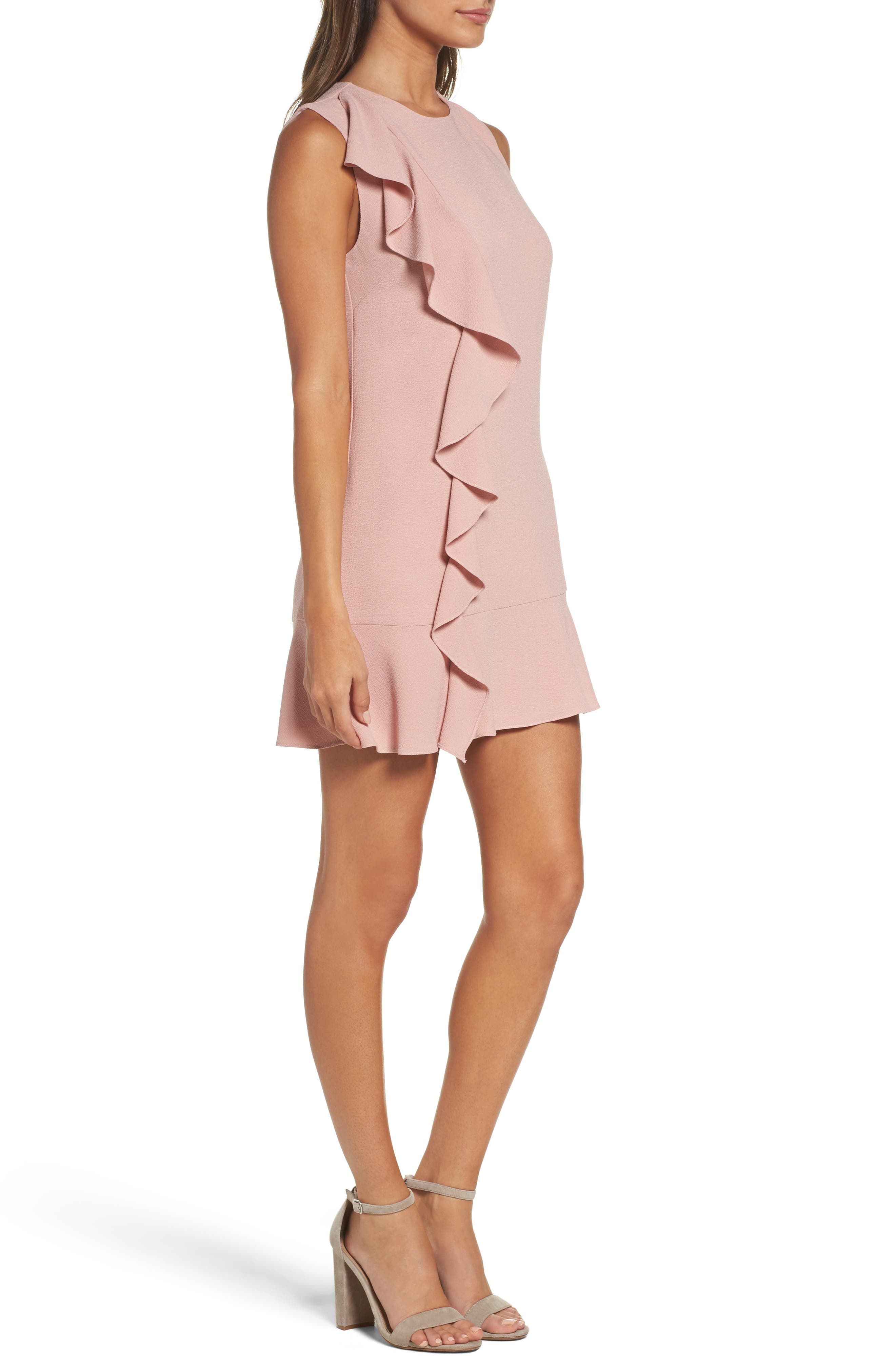 Ruffle Shift Dress,                             Alternate thumbnail 3, color,                             Blush