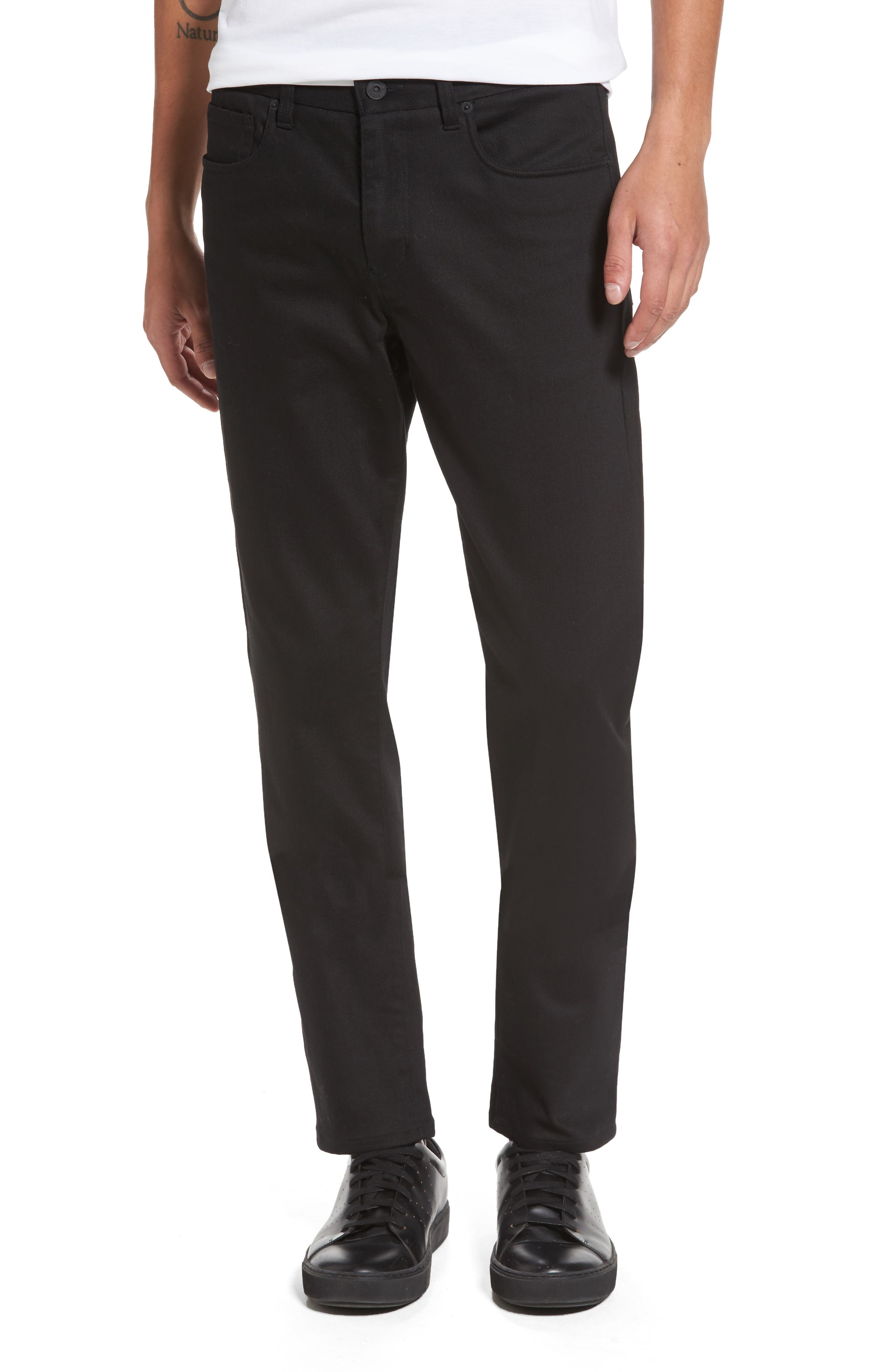 Stretch Twill 5-Pocket Pants,                         Main,                         color, Black